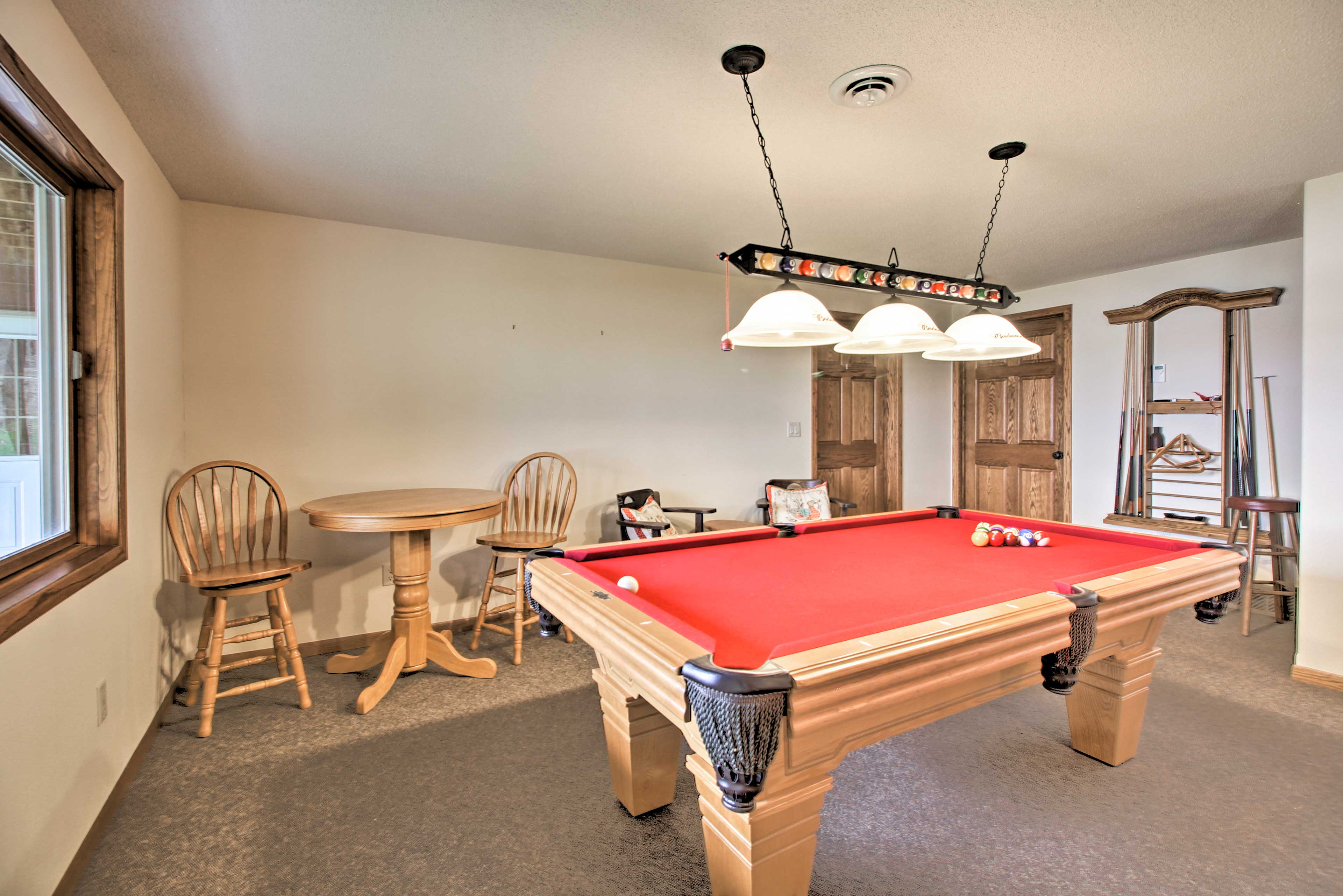 Practice your pool shots at the table in the corner!