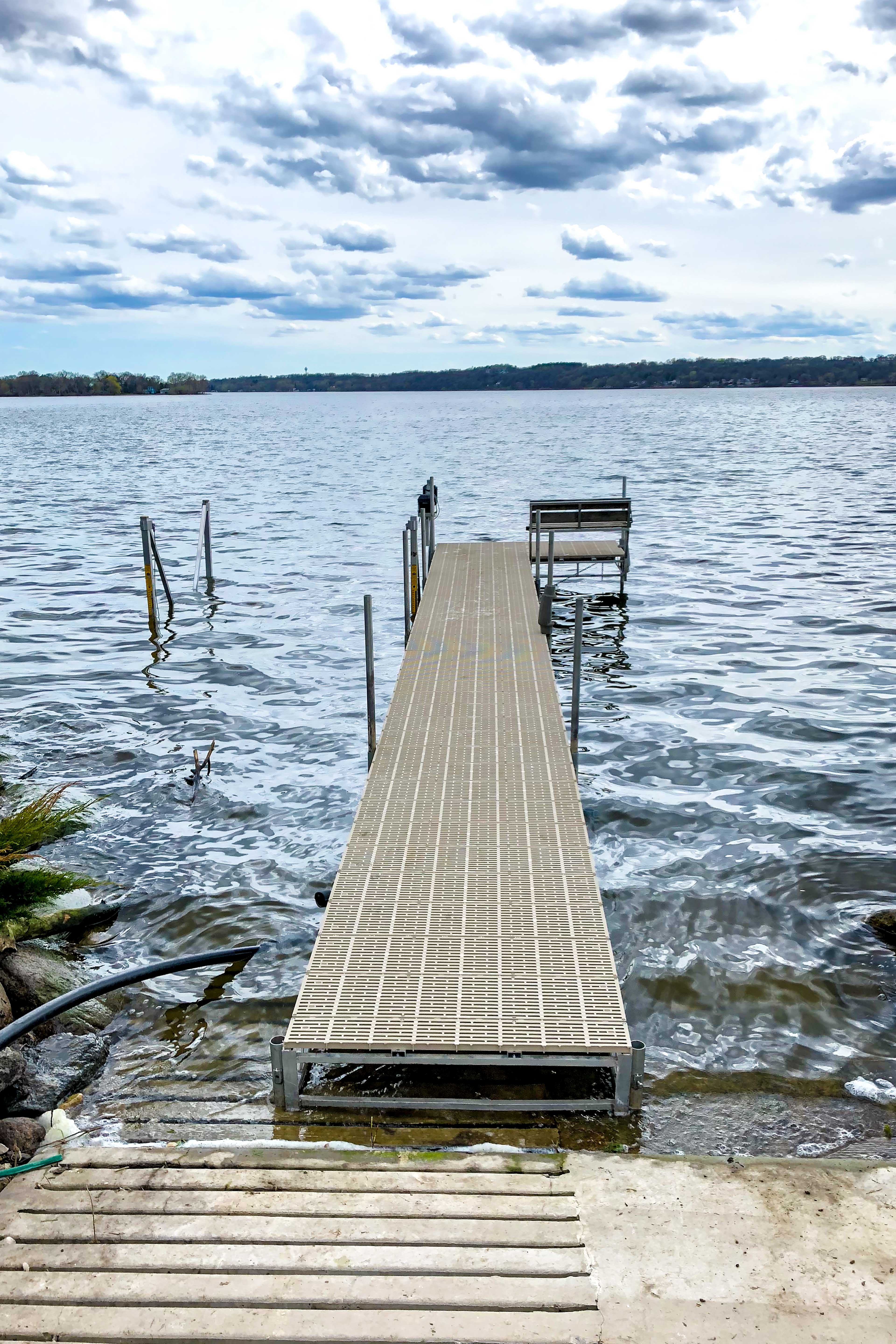 Stroll down the dock to your boat or to go for a swim!