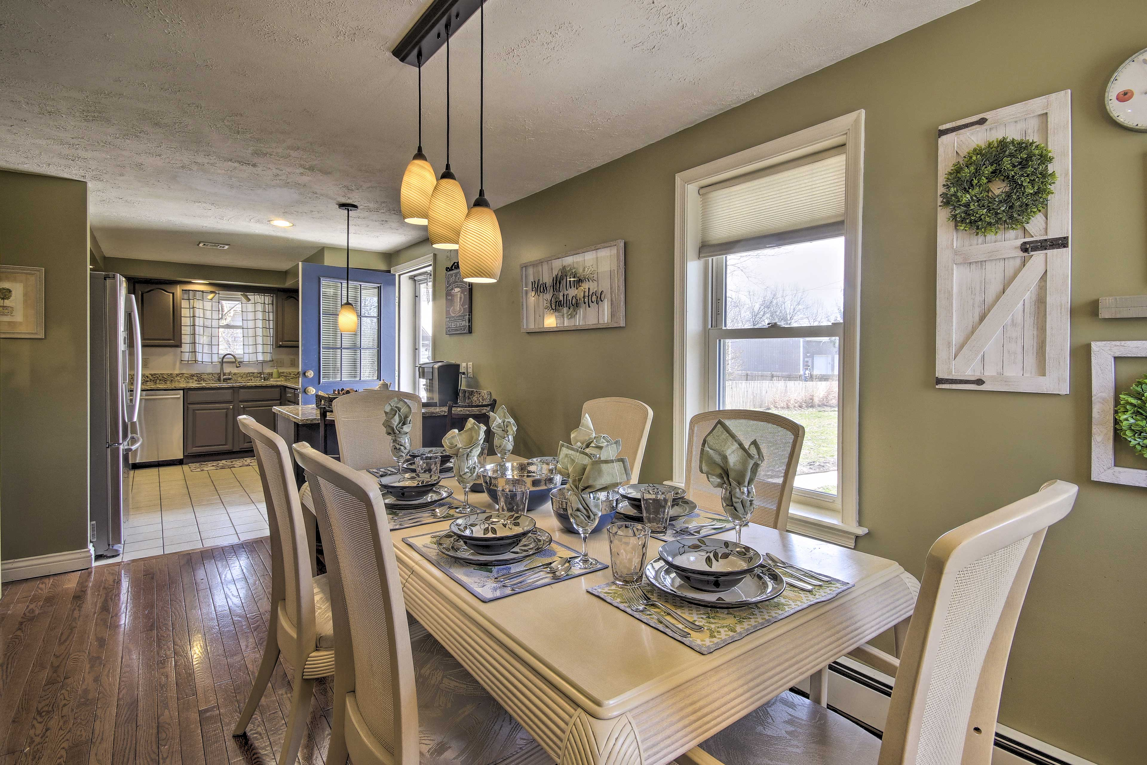 Share home-cooked feasts at the elegant dining table.