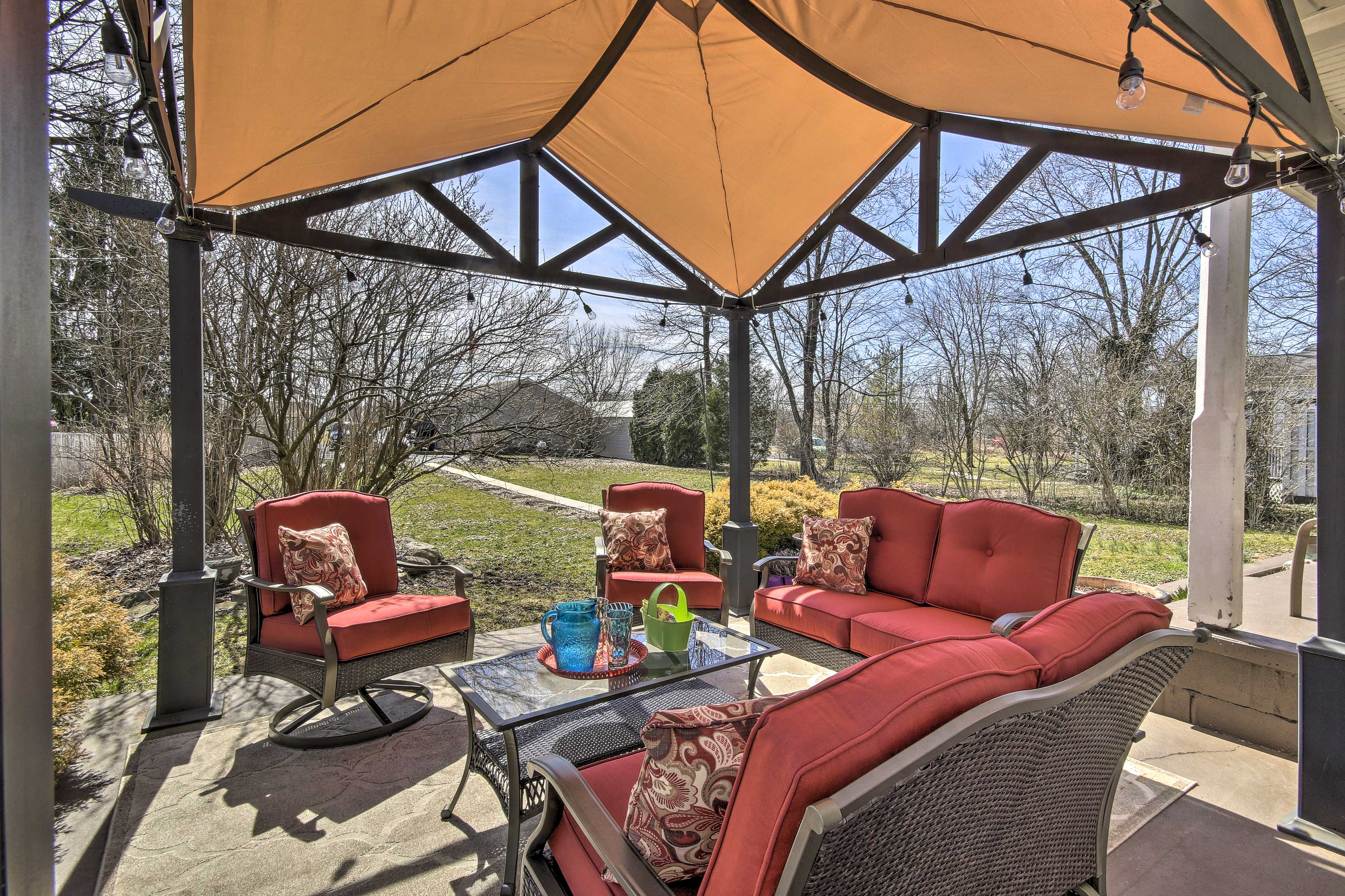 This vacation rental boasts a huge back yard and furnished, covered patio.