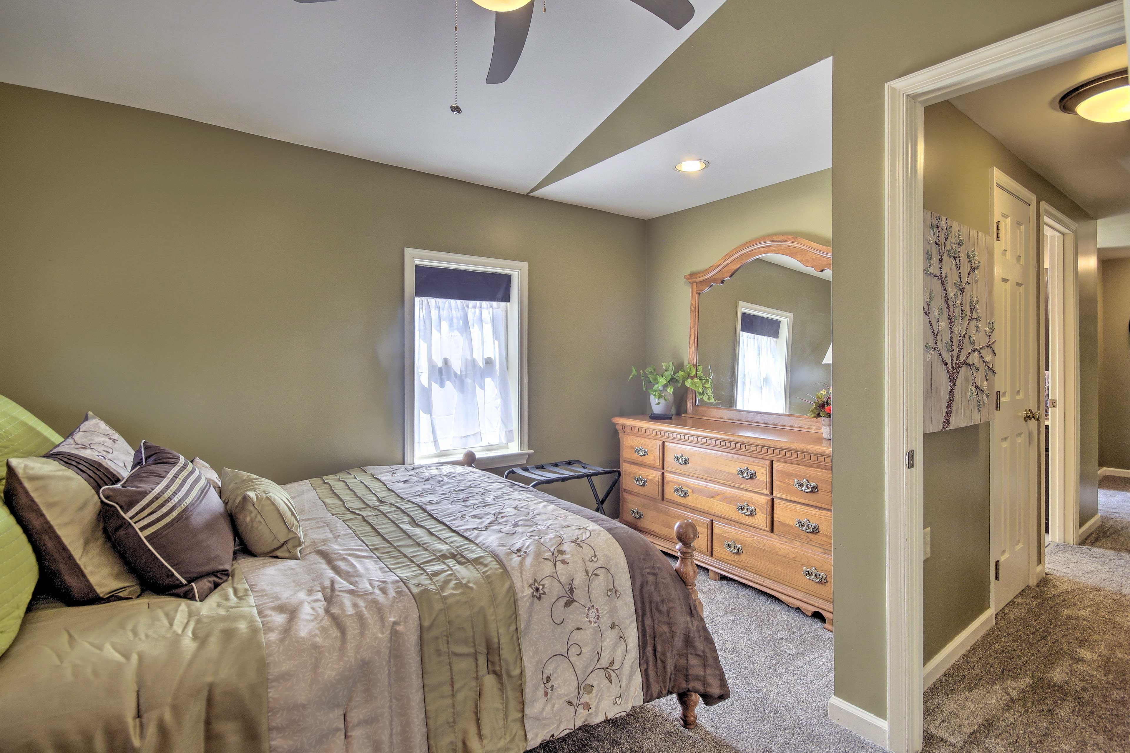This bedroom also includes a full bed.