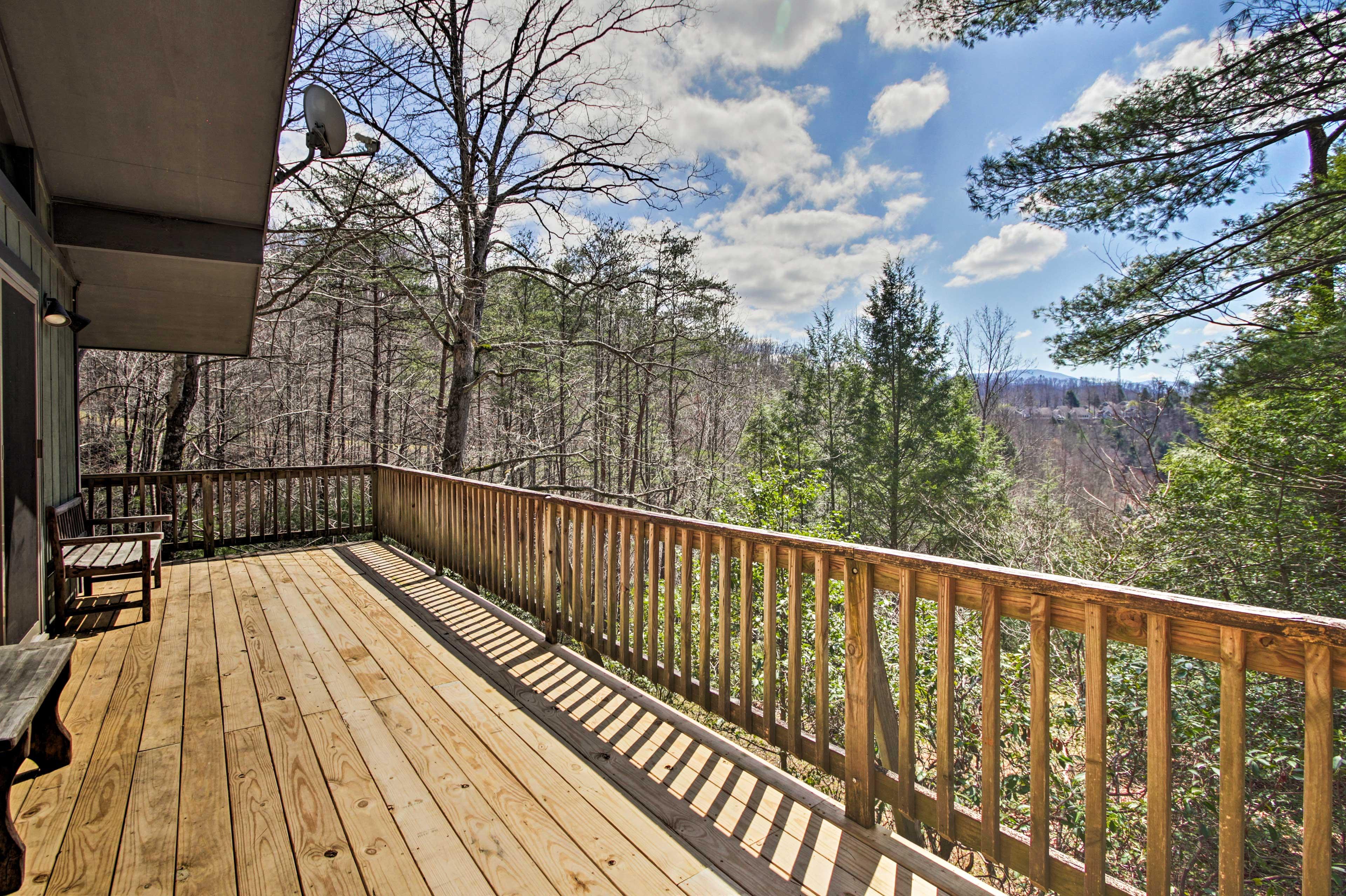 Enjoy stunning views of the surrounding Smoky Mountains.