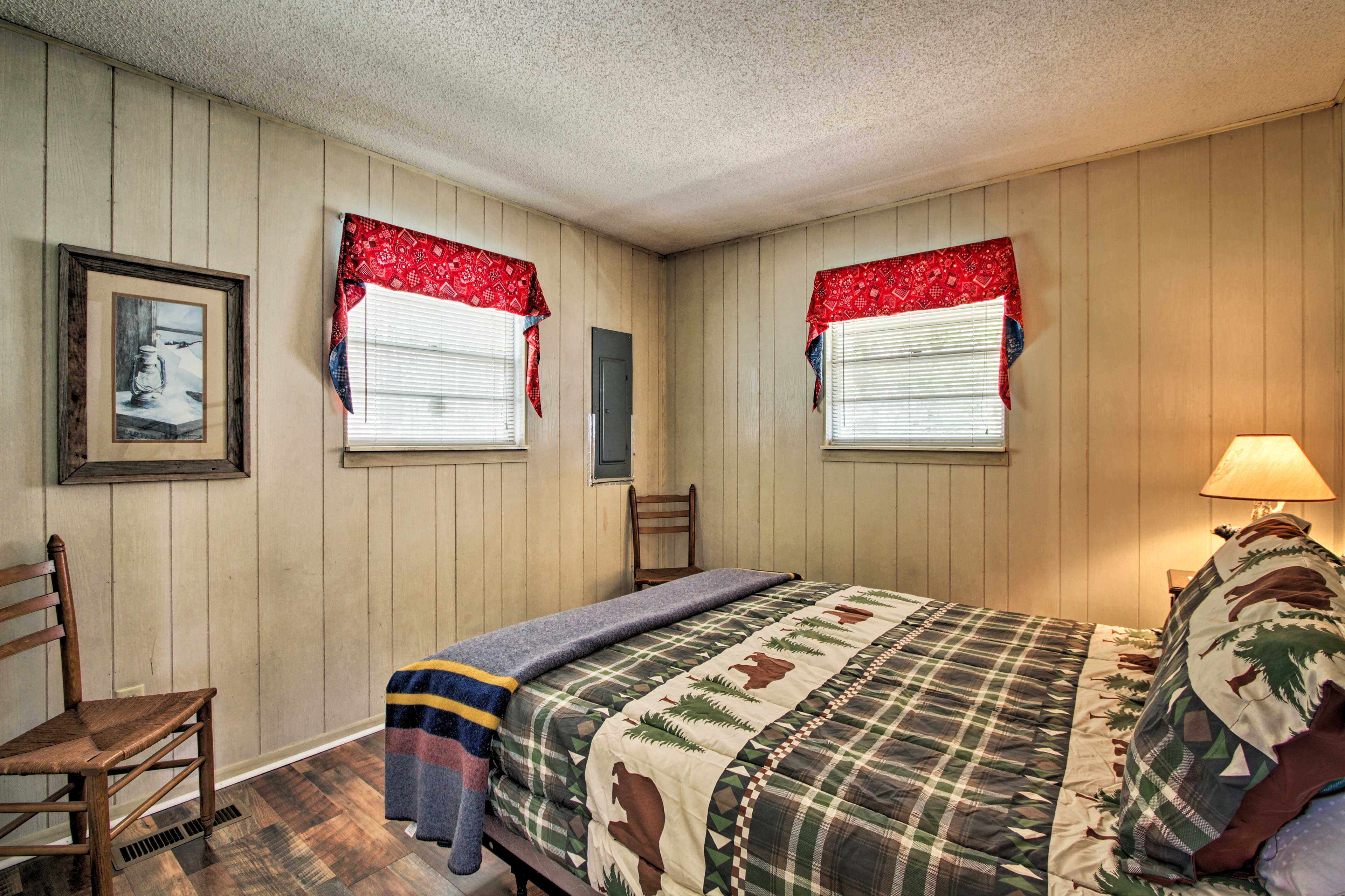 Rustic mountain-themed decor accents the cabin.