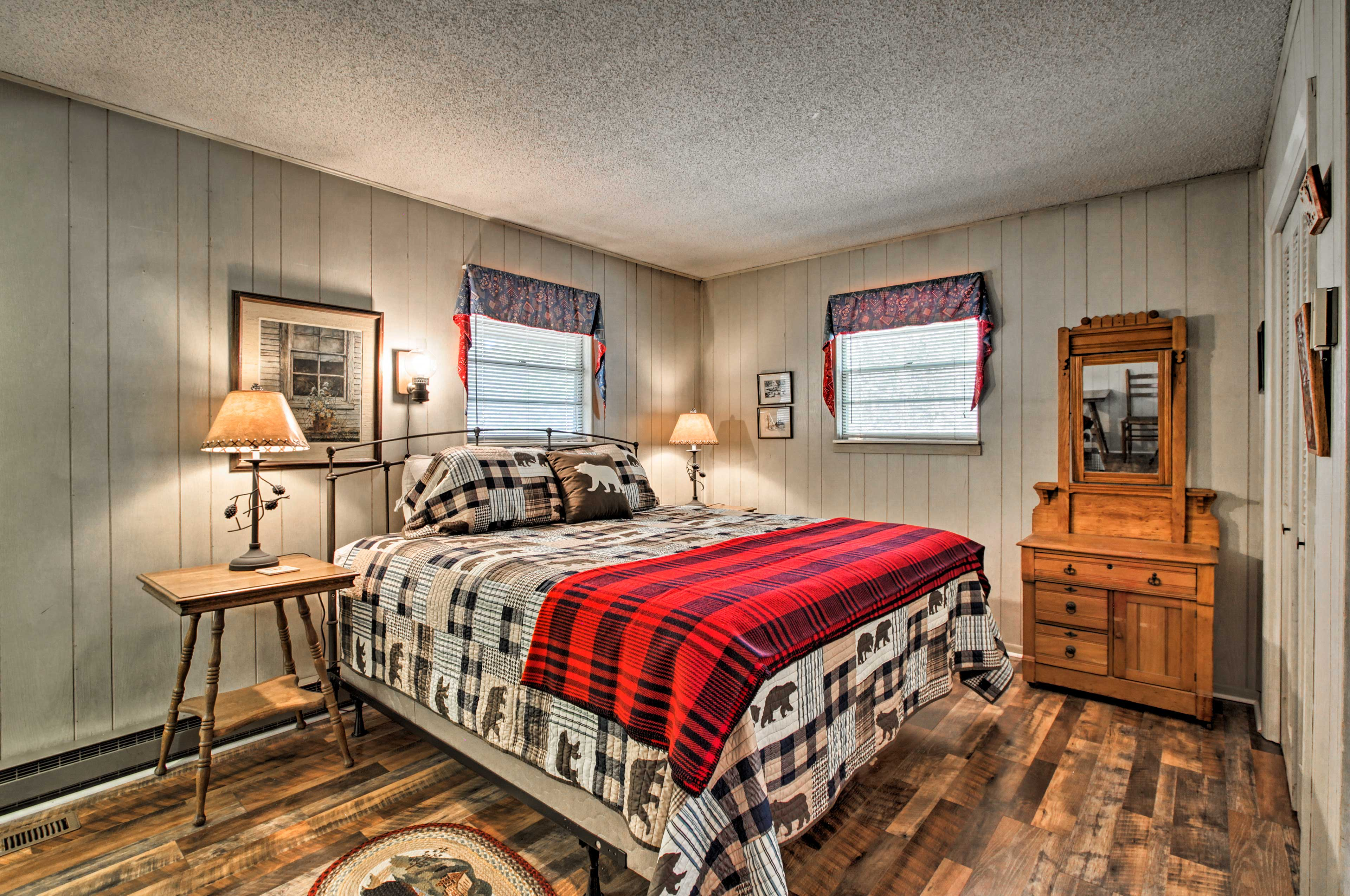 The master bedroom boasts a king-sized bed for 2.