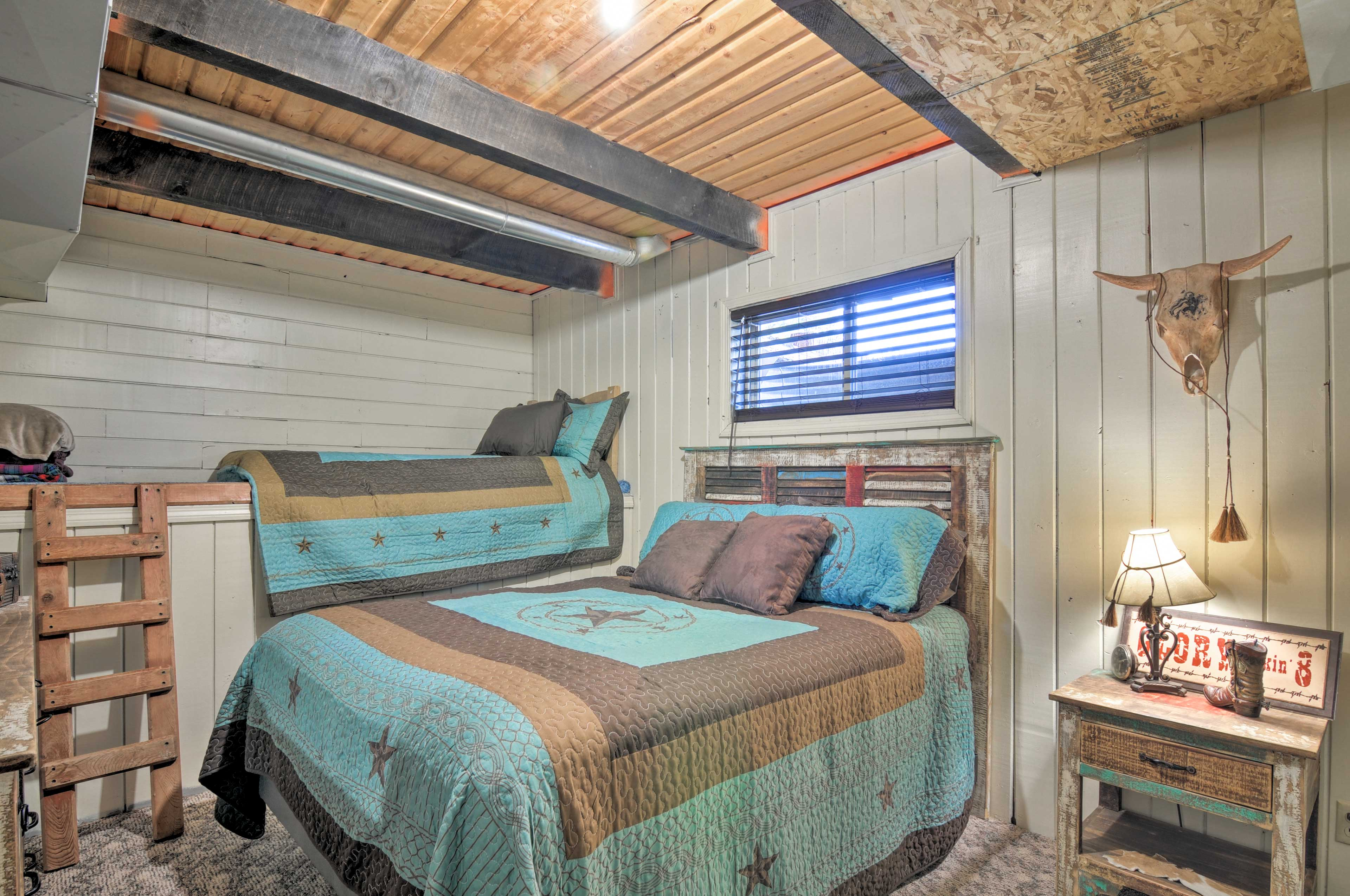 The third bedroom offers a king bed and lofted twin bed.