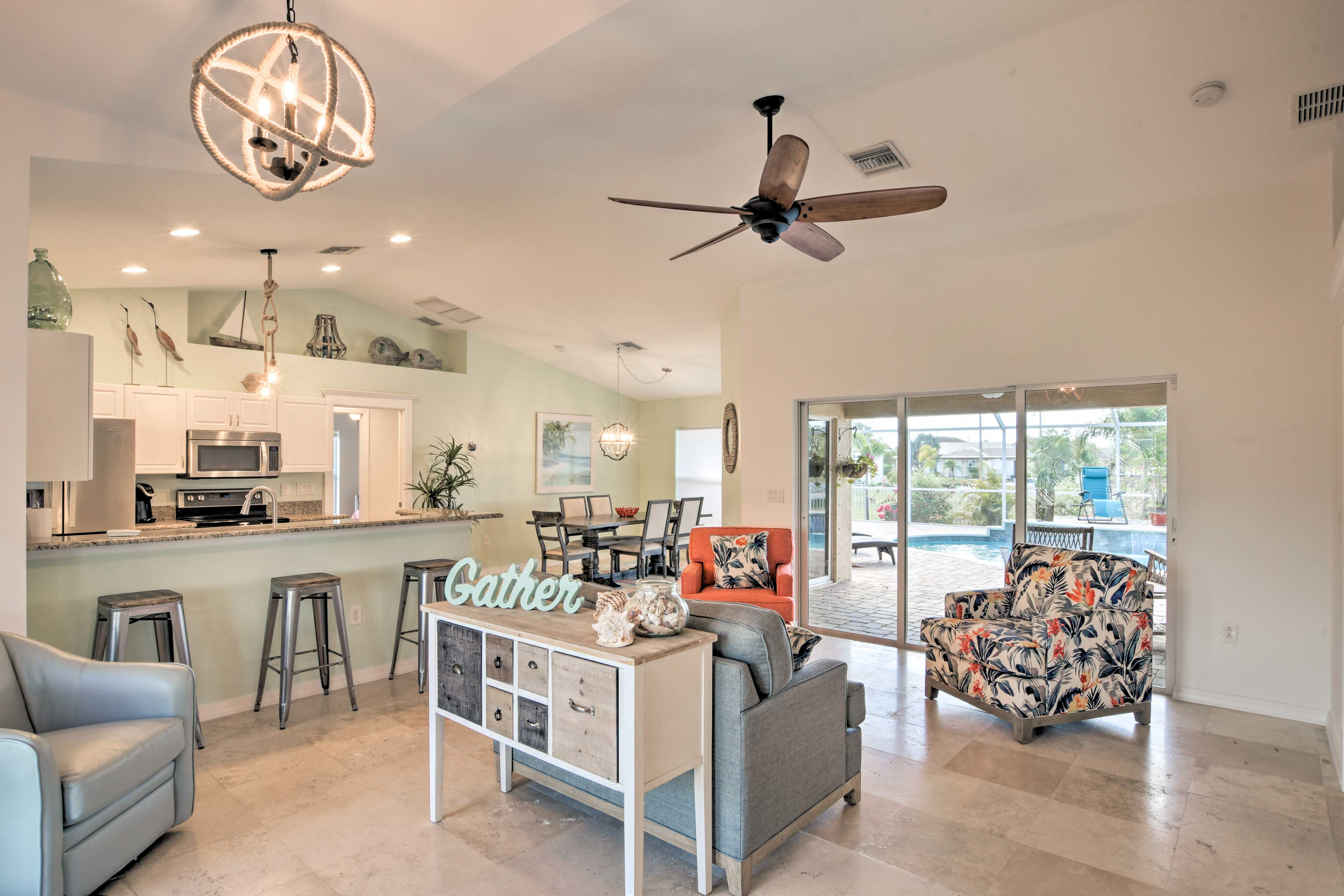 This 4-bedroom, 2-bath home can host a family of 8!