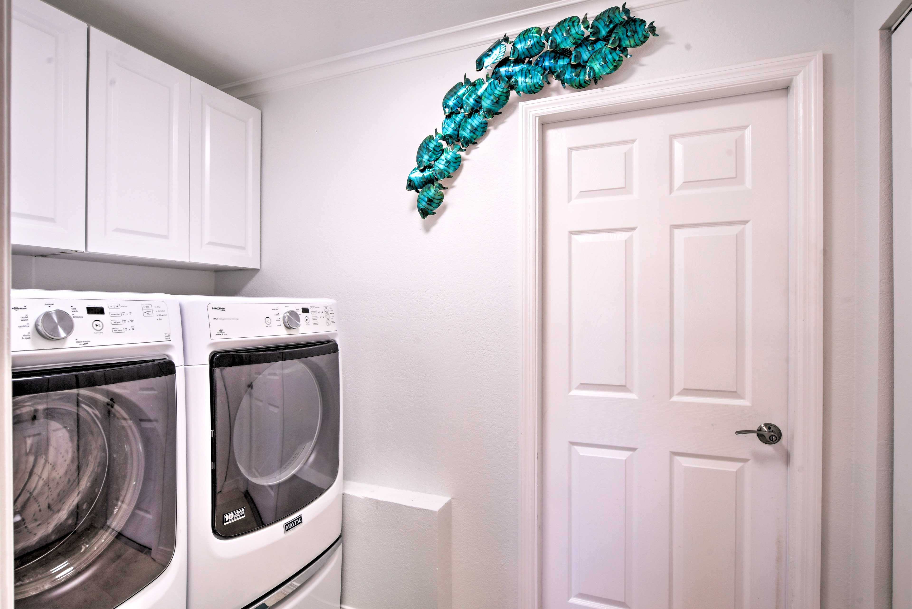 Throw your used swim trunks in the laundry machines.