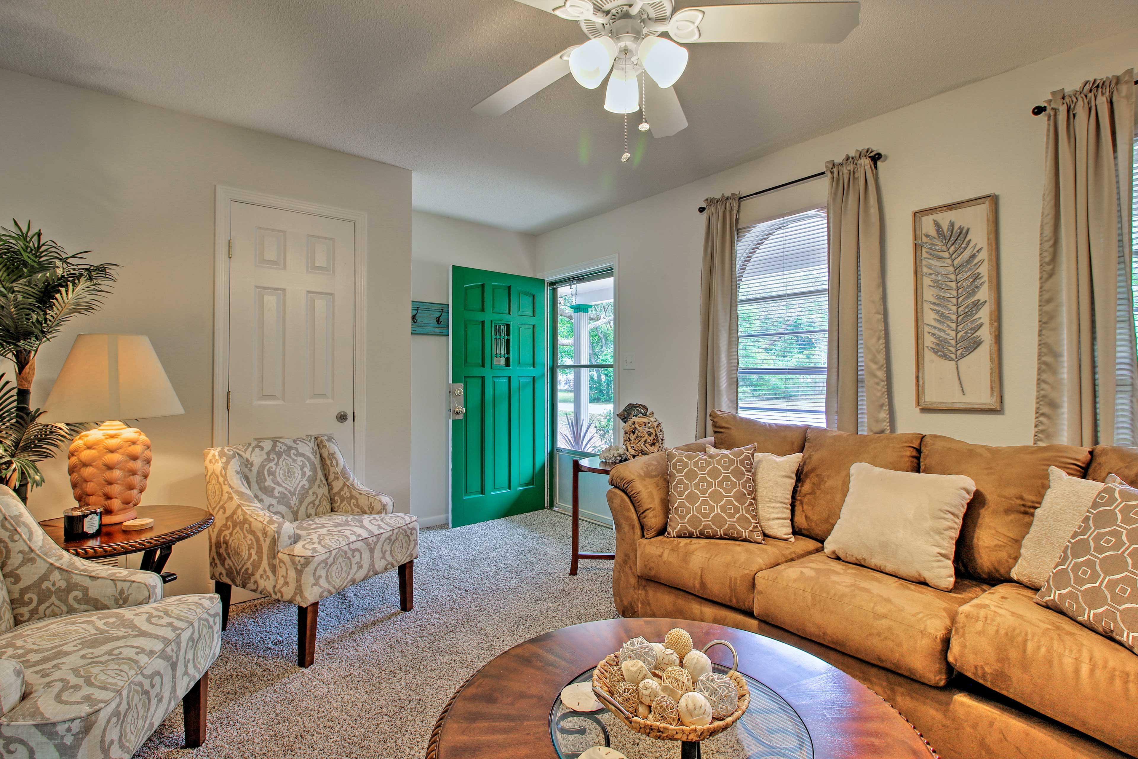The spacious interior is elegant-yet-cozy.
