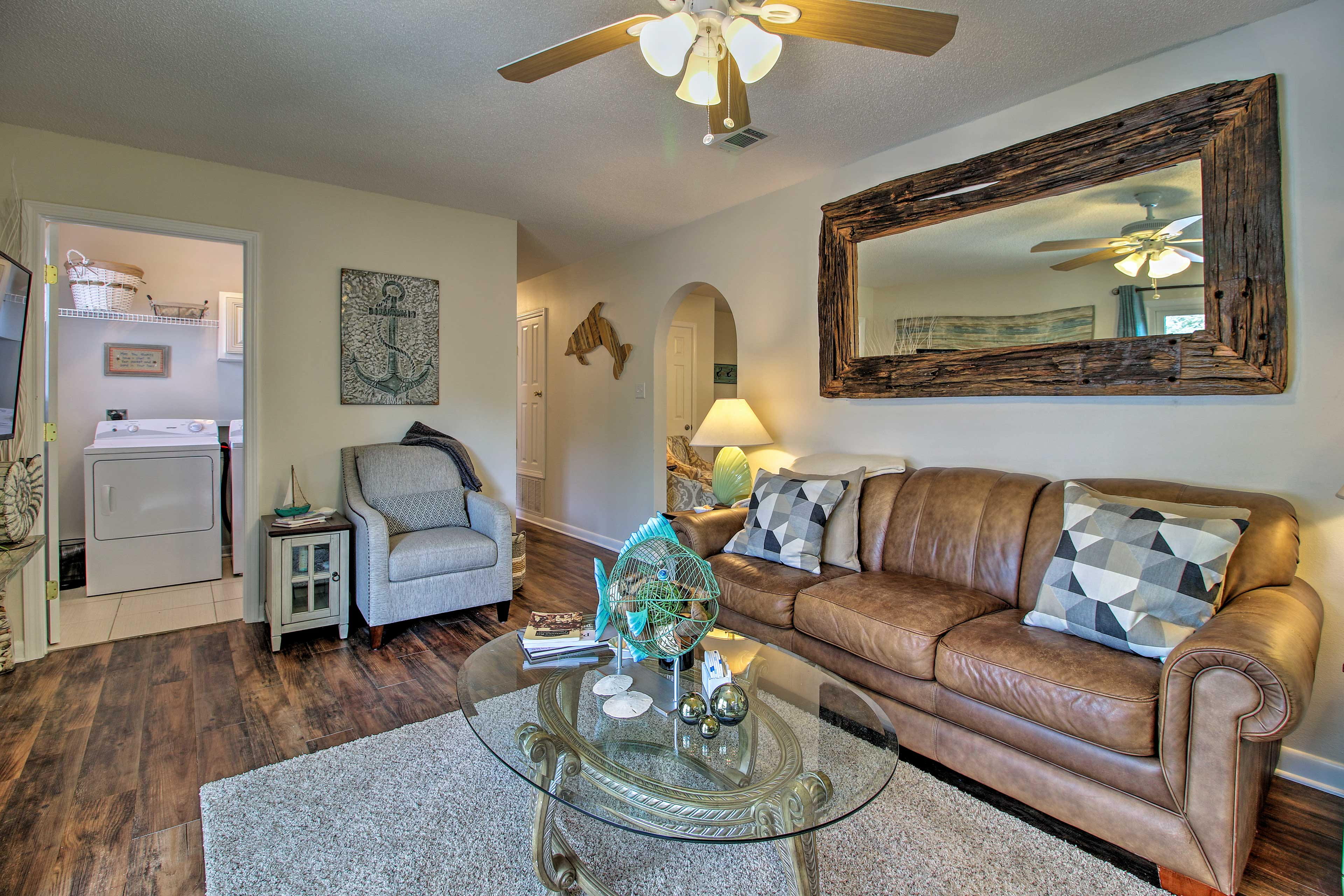 The second living area offers a sleeper sofa.