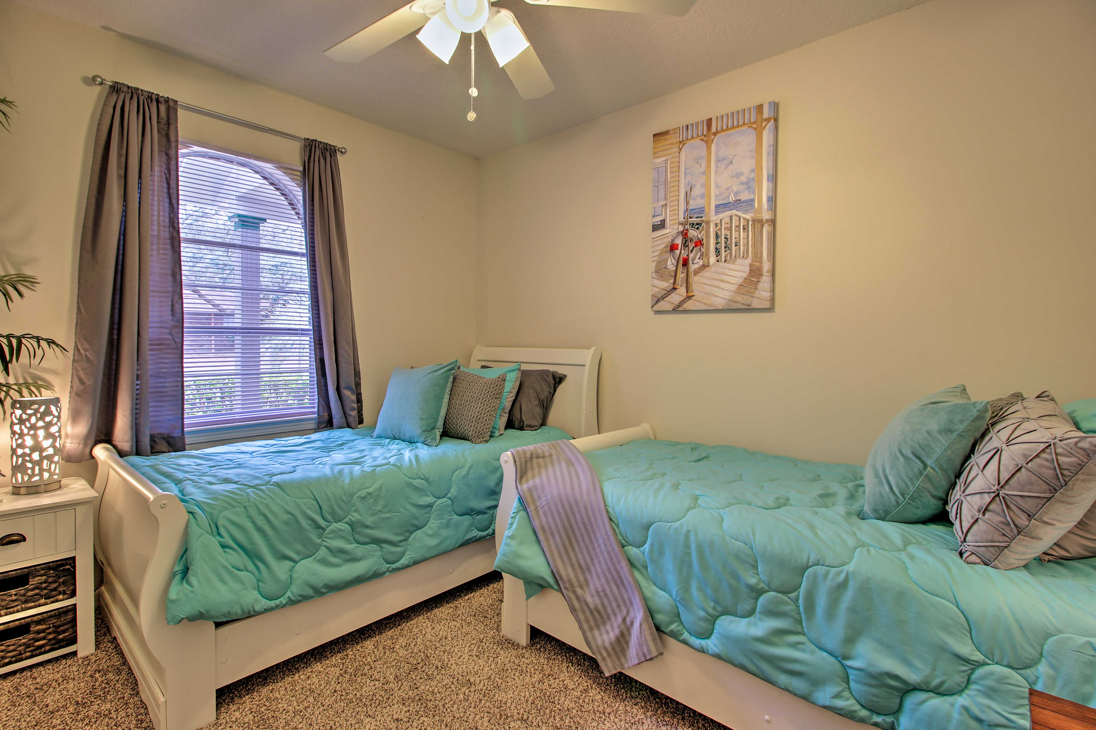 The 2 twin beds make this room great for kids.