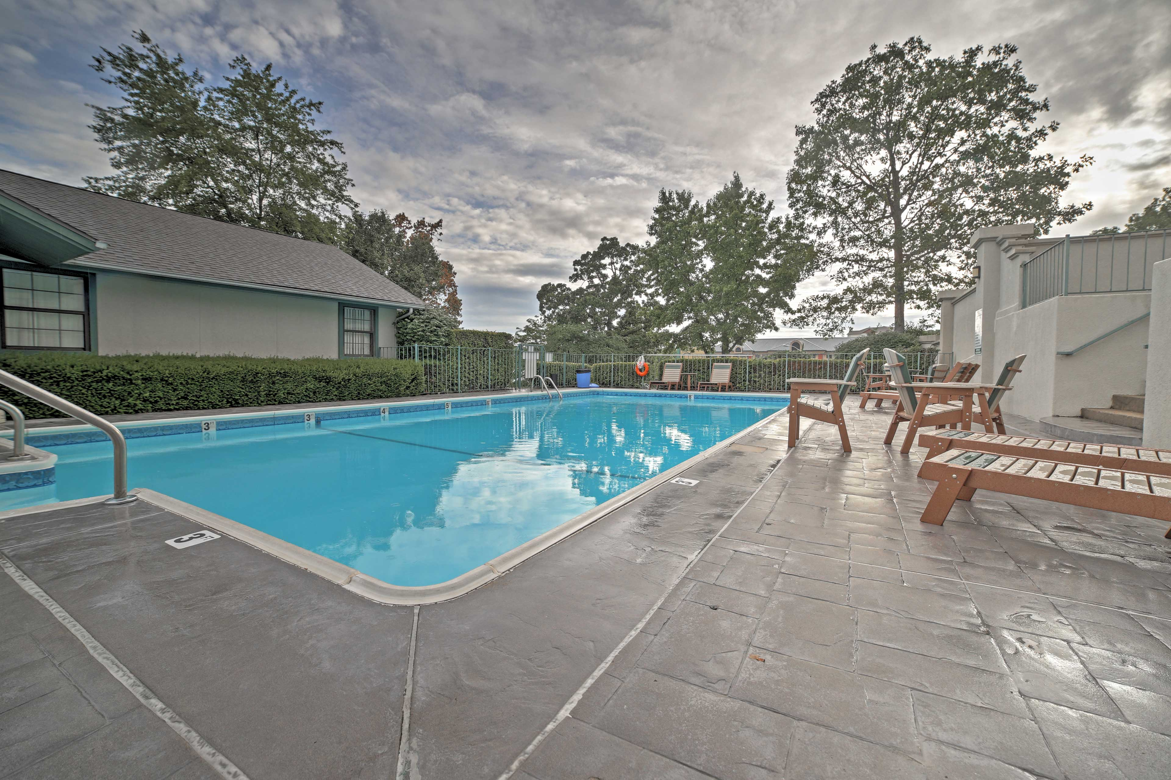 This 2-bed, 2-bath unit offers community amenities including a seasonal pool.
