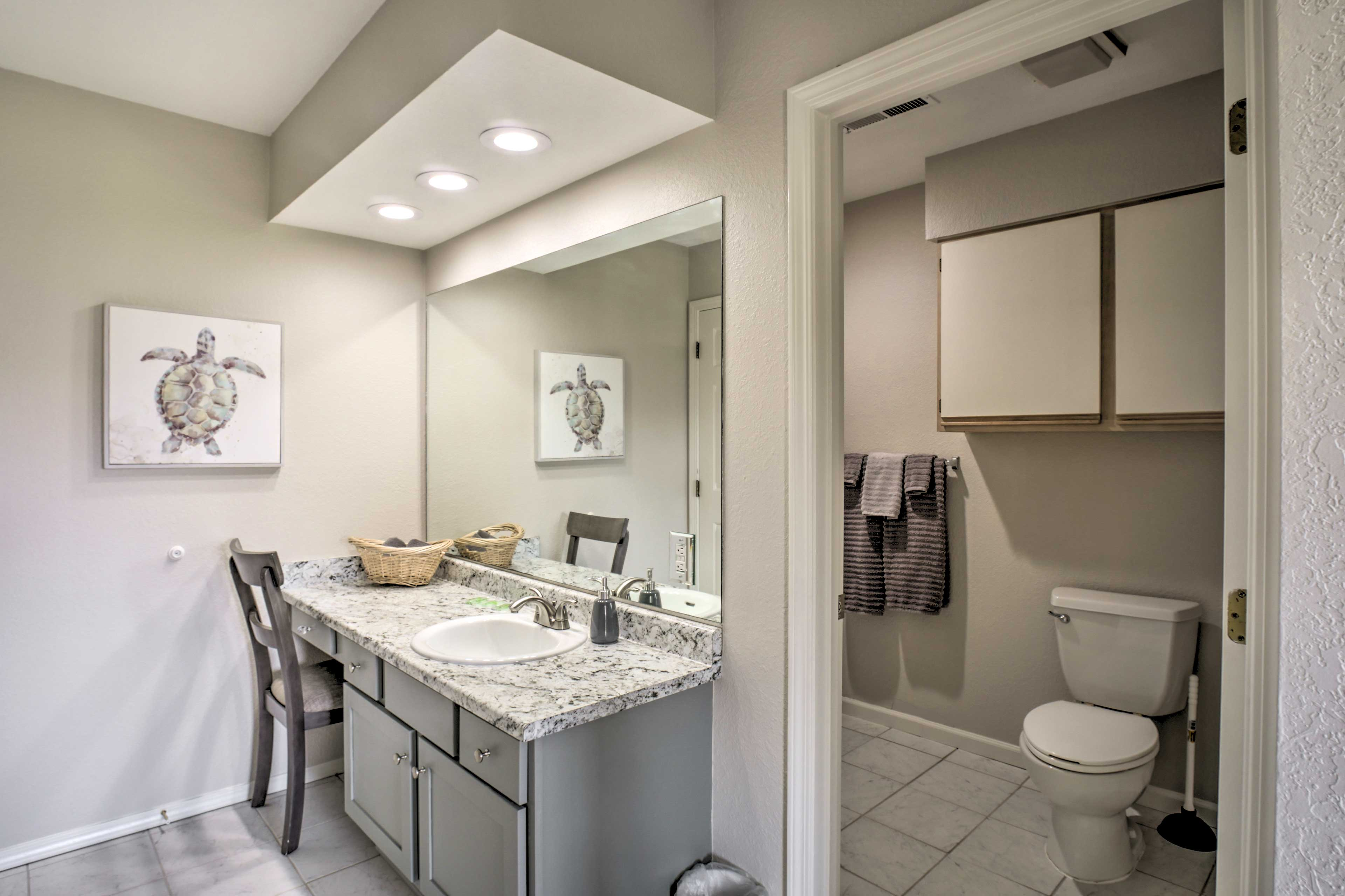 Get ready for a night out in the master en-suite bathroom.