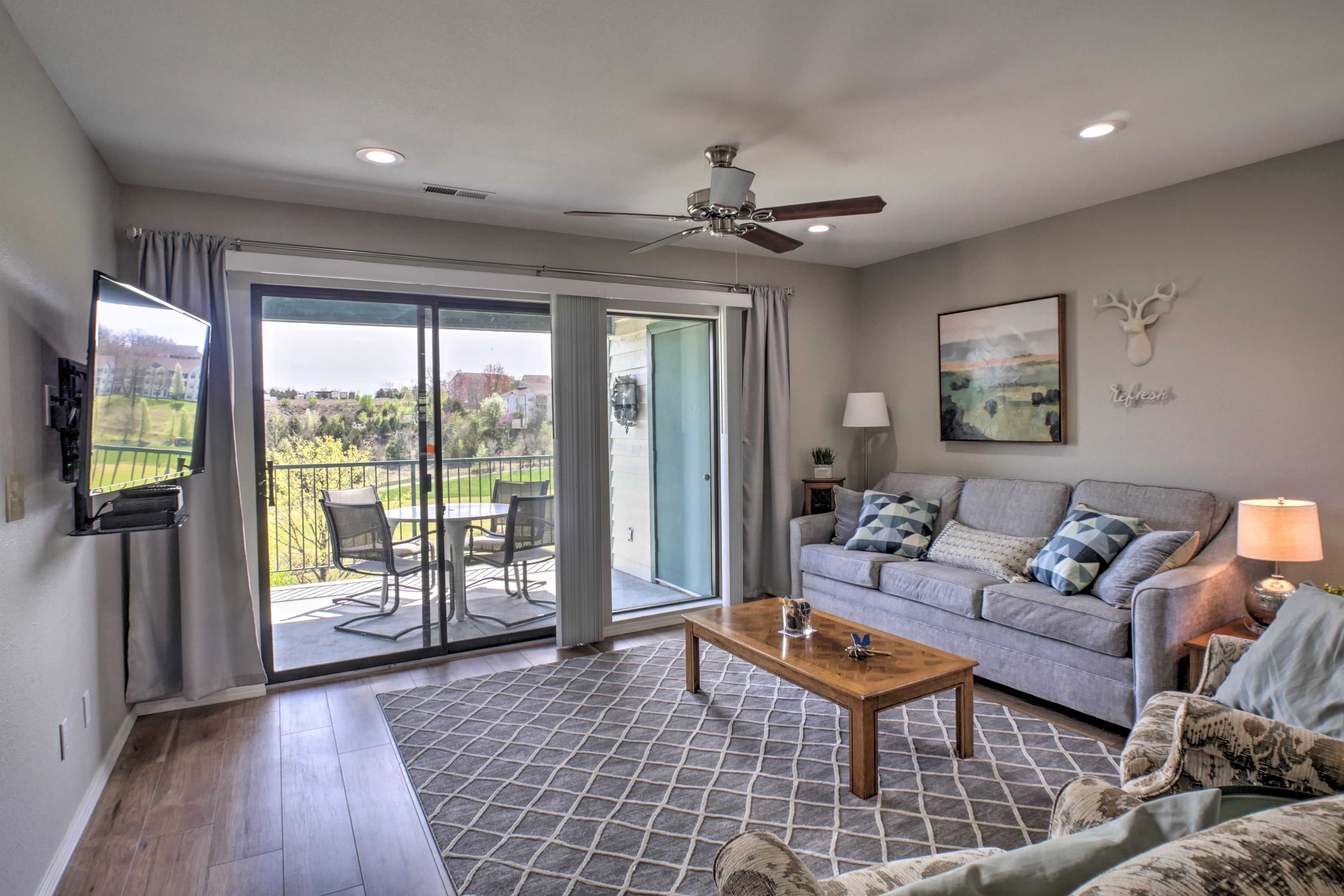Open the sliding glass door to let the fresh air inside.
