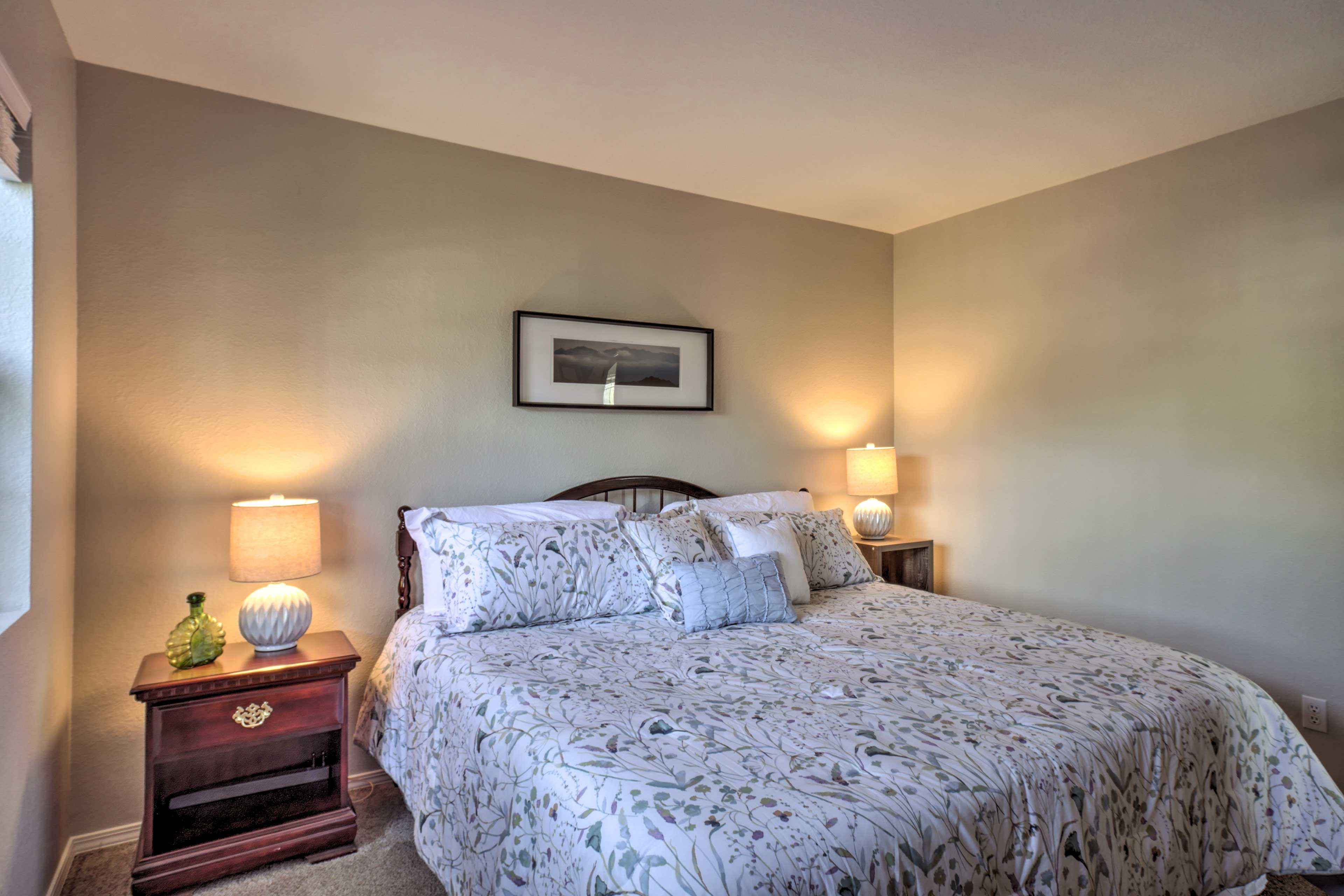 Lay back on the king-sized bed in this room.