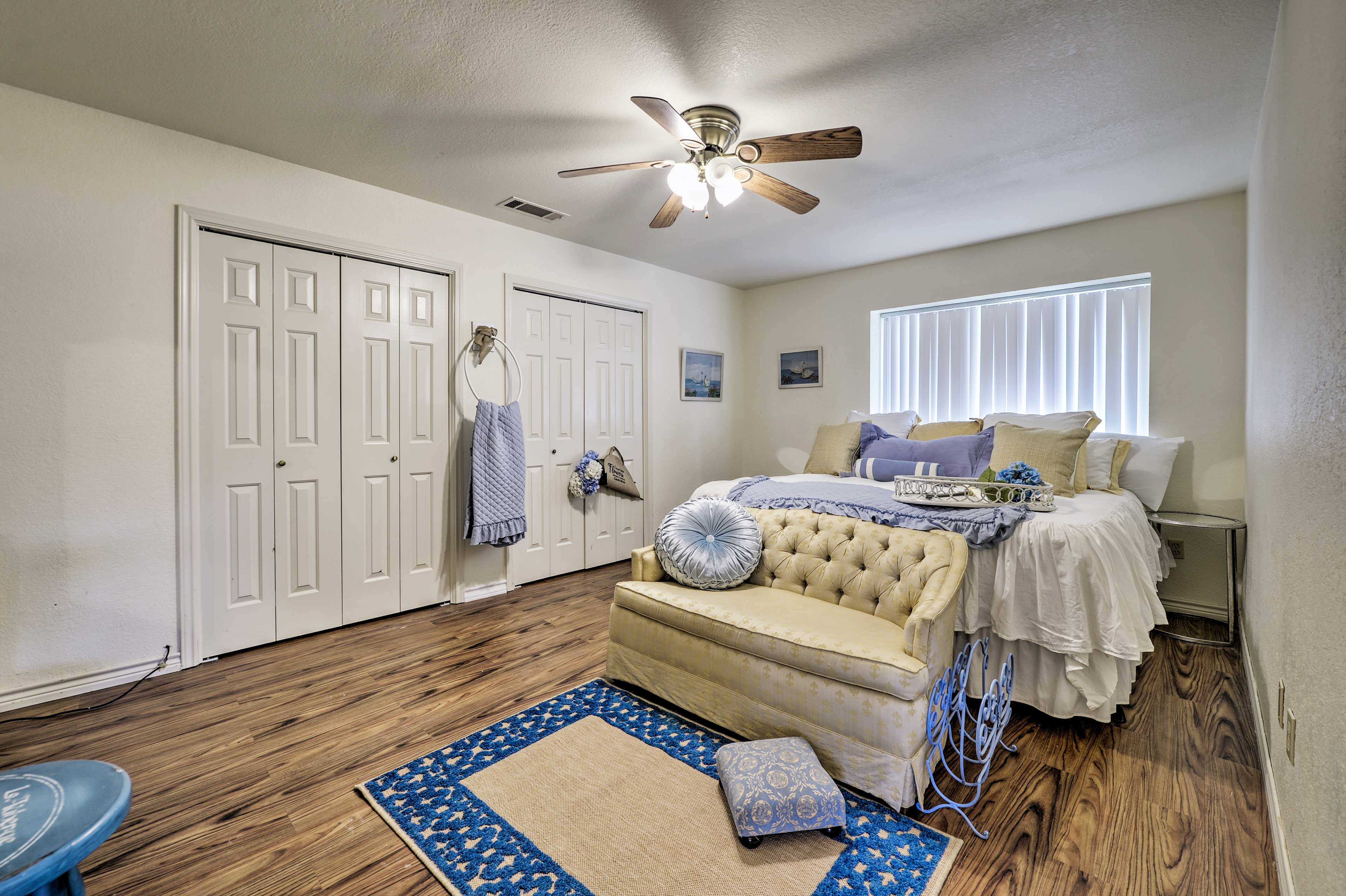 The master bedroom boasts a king-sized bed.