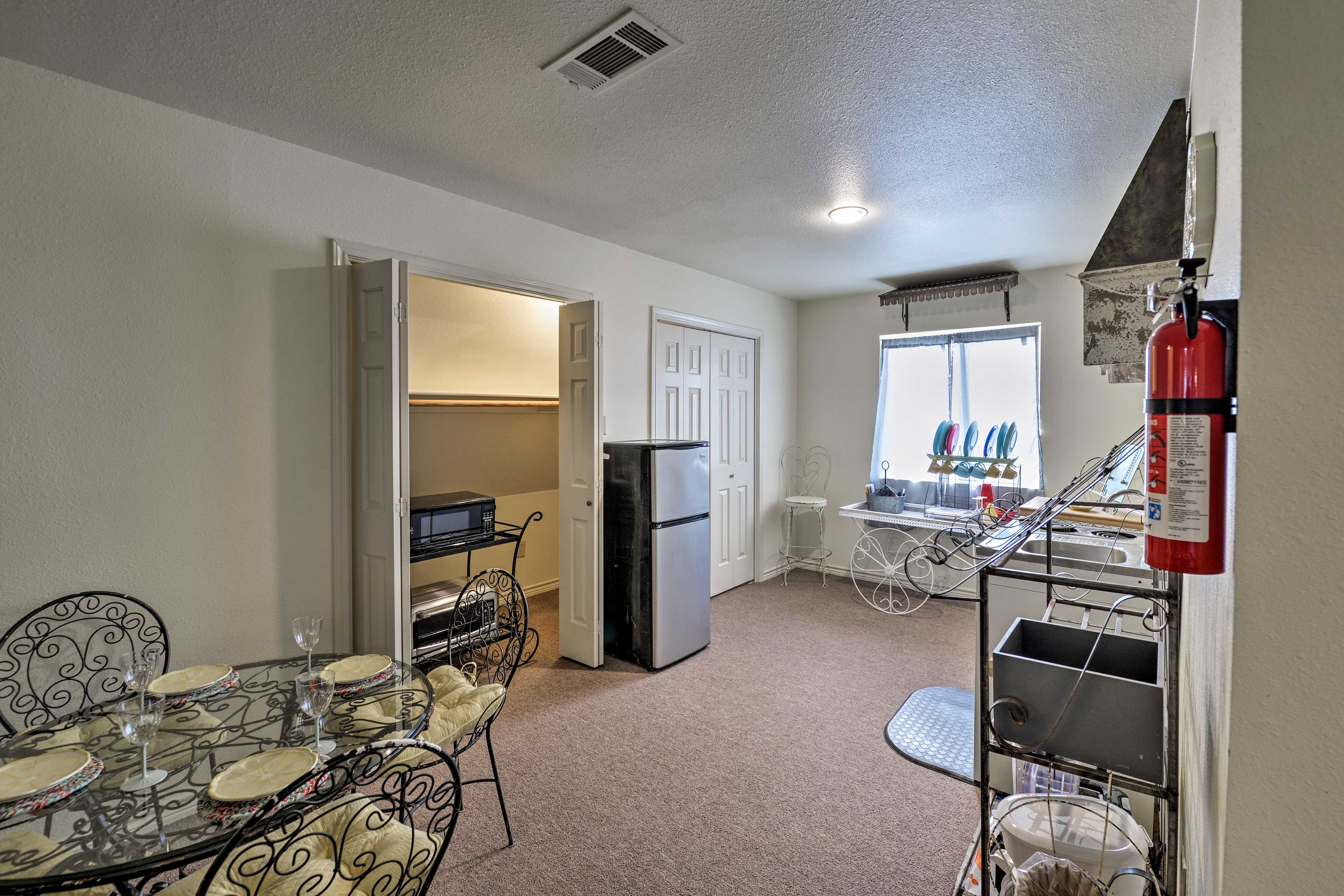This space also hosts a kitchenette.