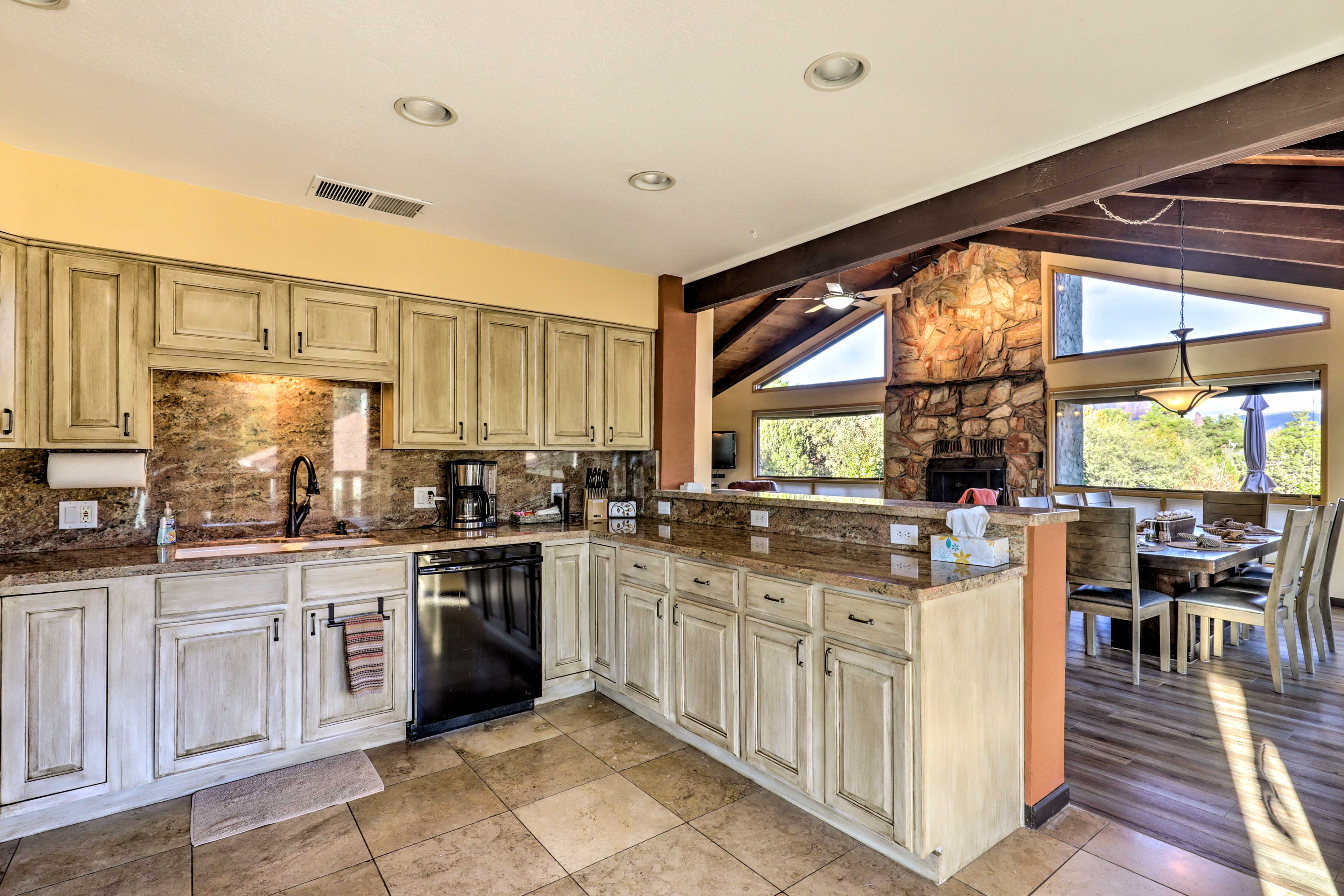 The breakfast bar is perfect for serving some appetizers before dinner!