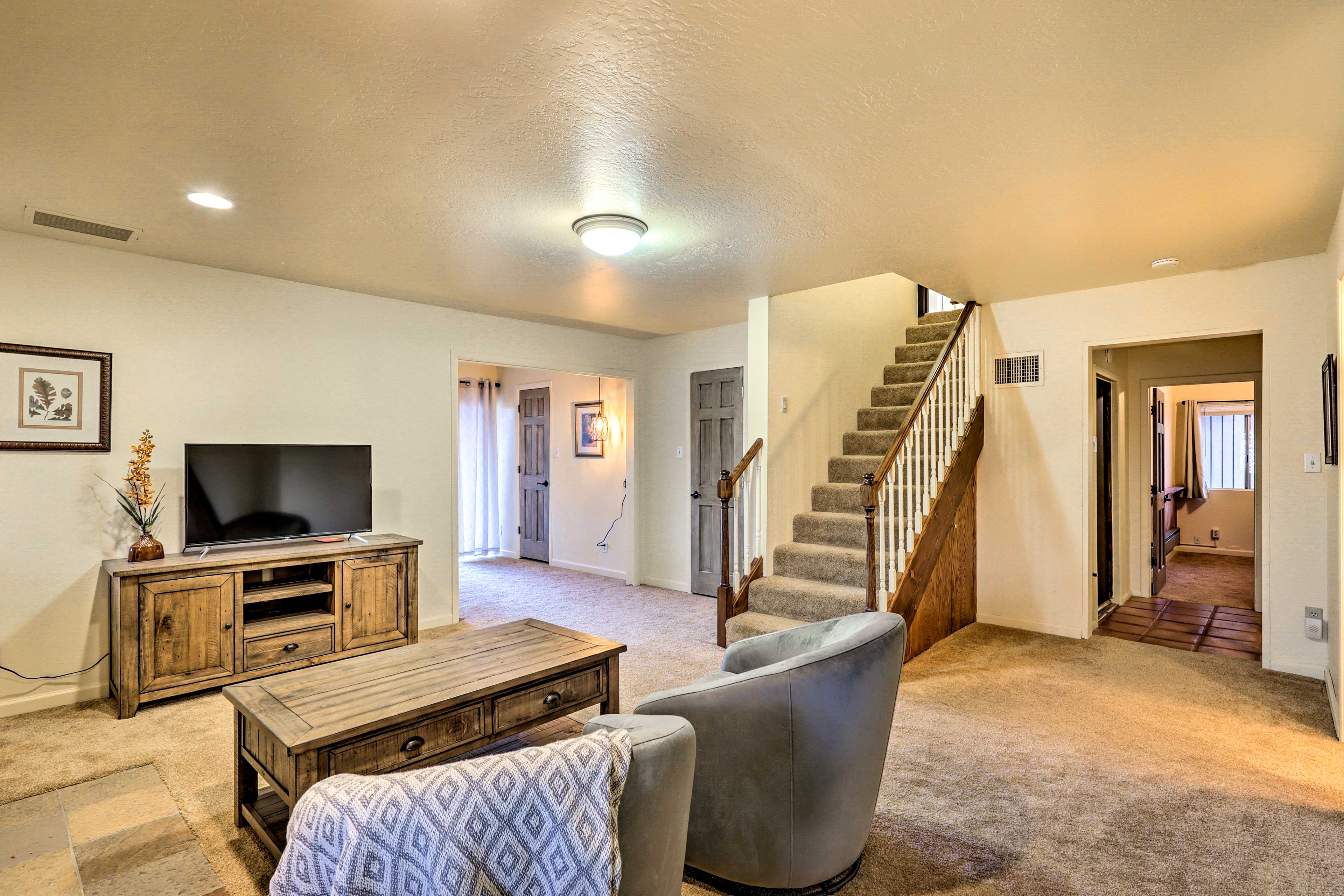 The basement den offers even more space to spread out while relaxing.