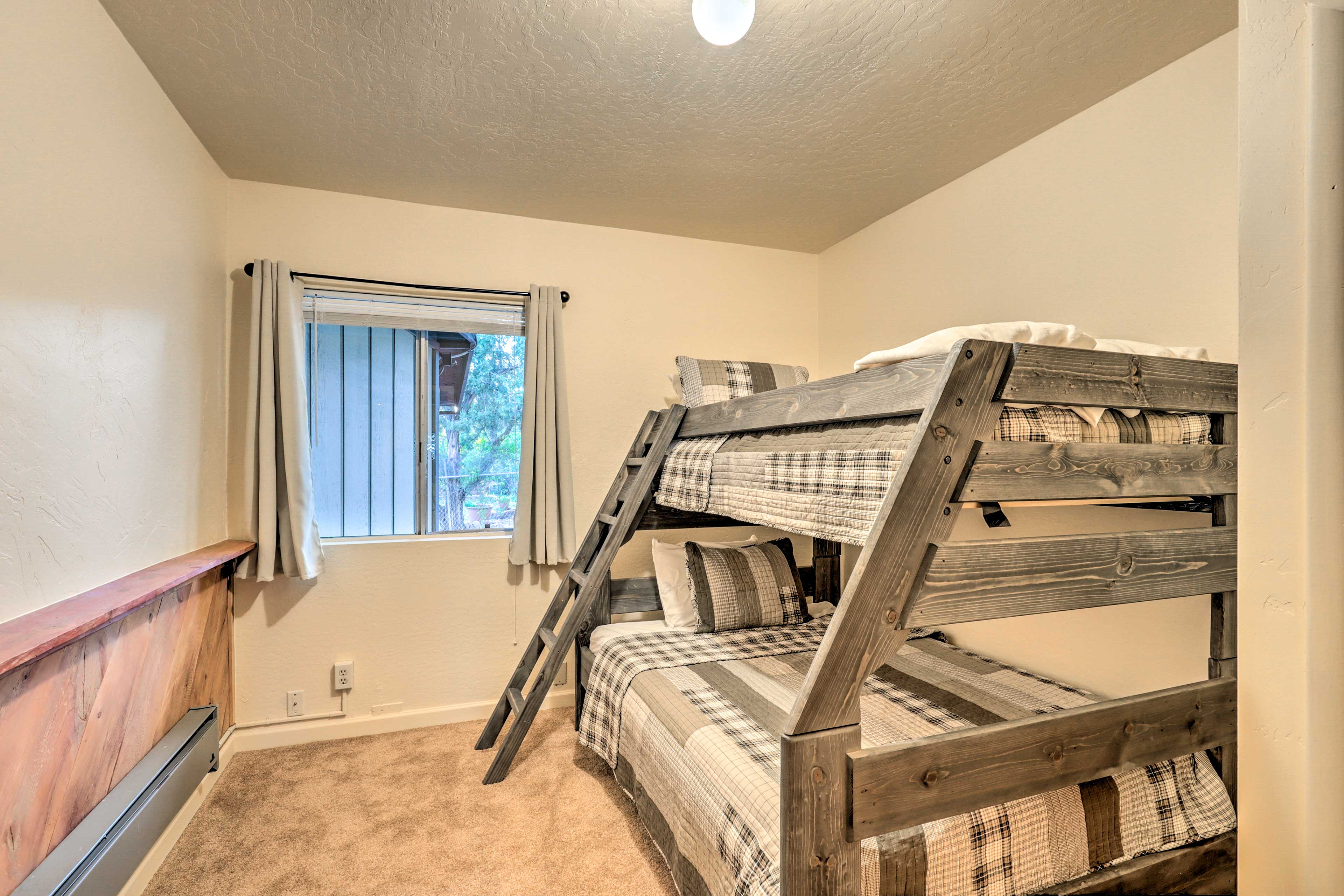 The third bedroom features a twin/full bunk bed with memory foam mattresses.