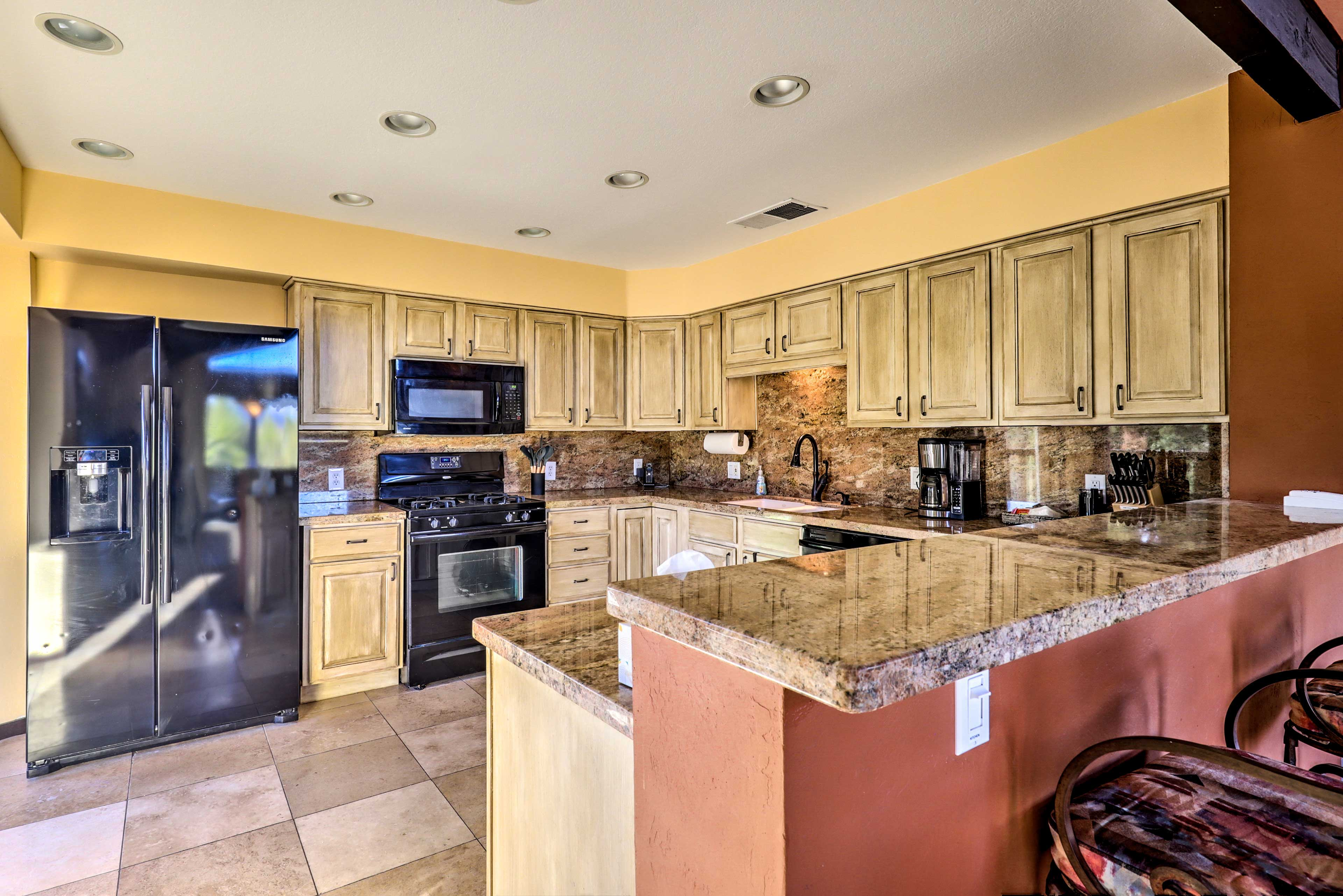 Whip up some fine cuisine of your own in this open kitchen.