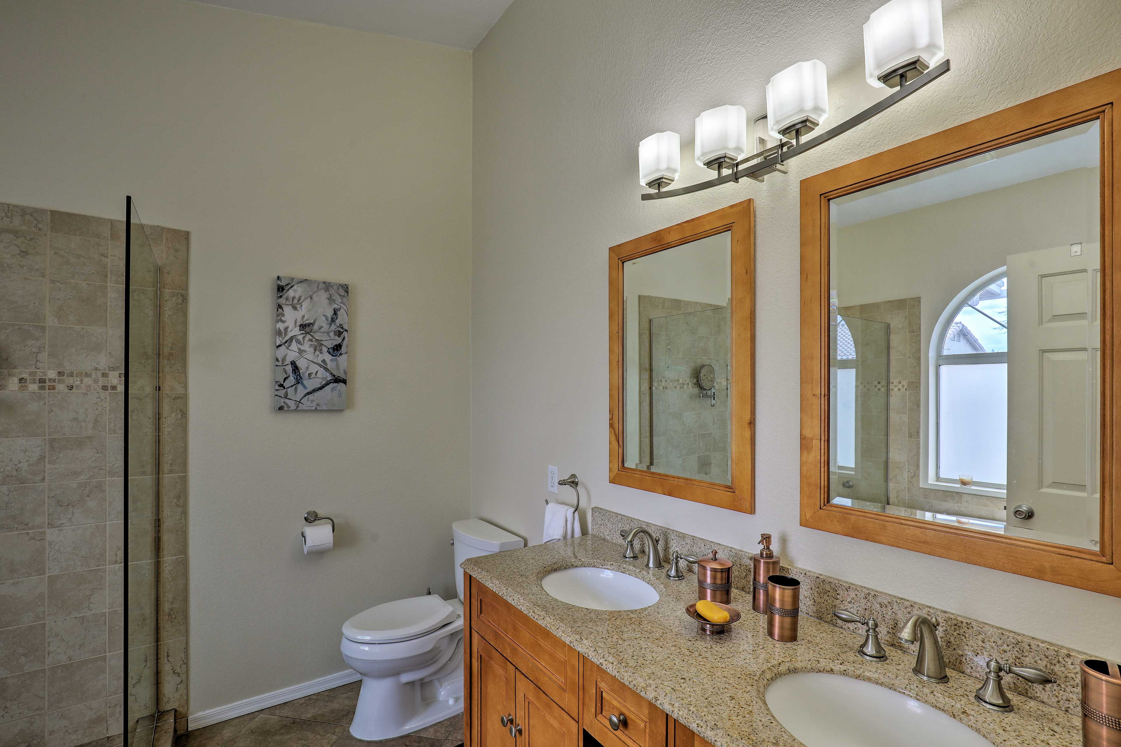 His-and-hers sinks allow you and a companion to get ready at the same time.