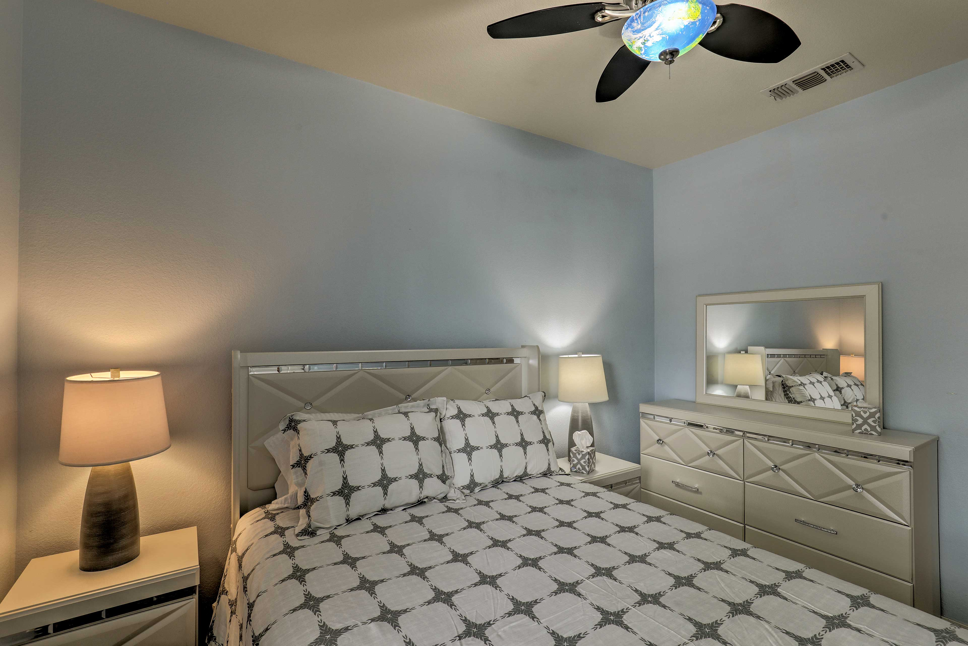 Use the bedside lamps to read until you're ready to sleep.