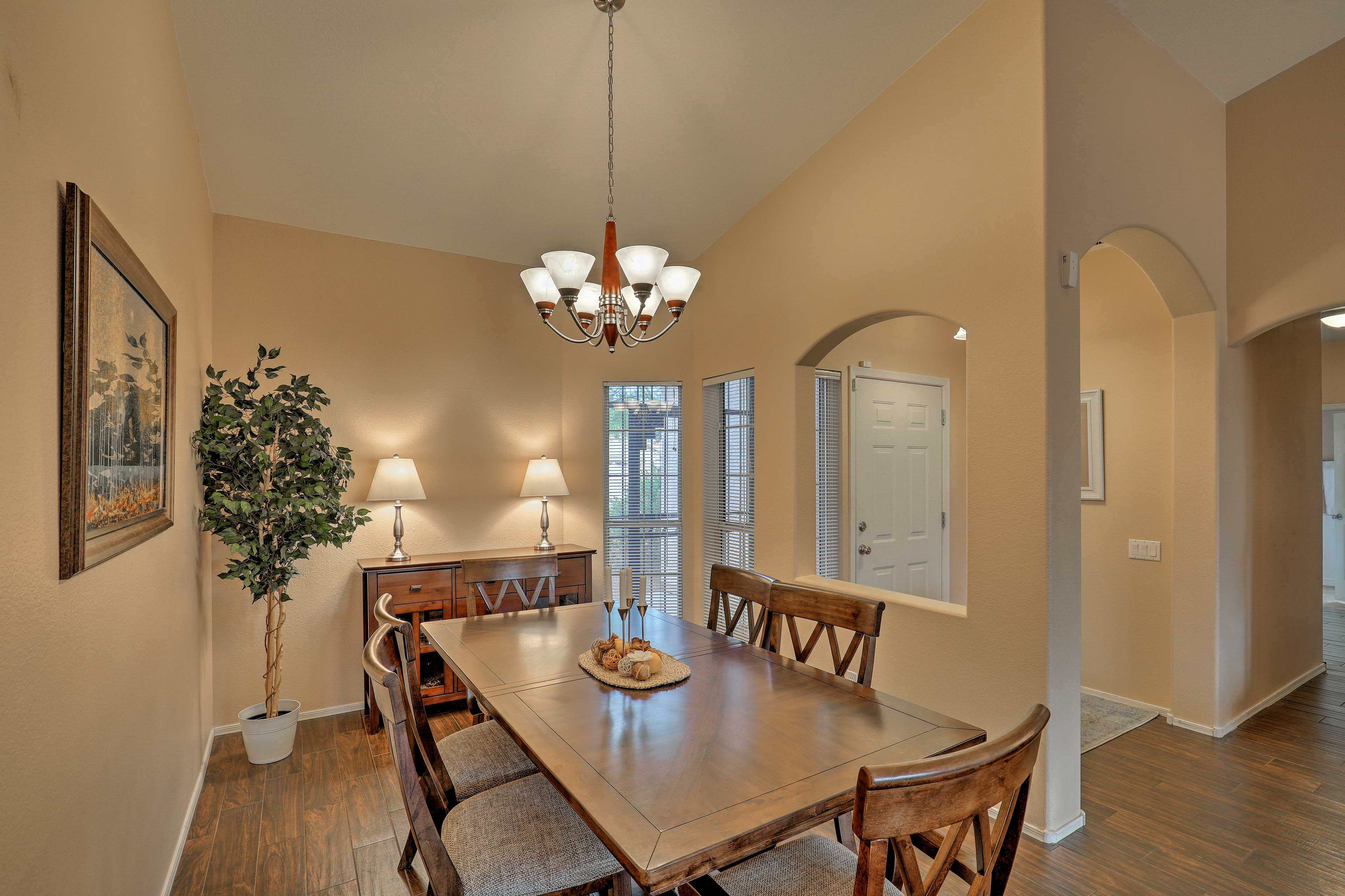Savor meals together at the large dining table.
