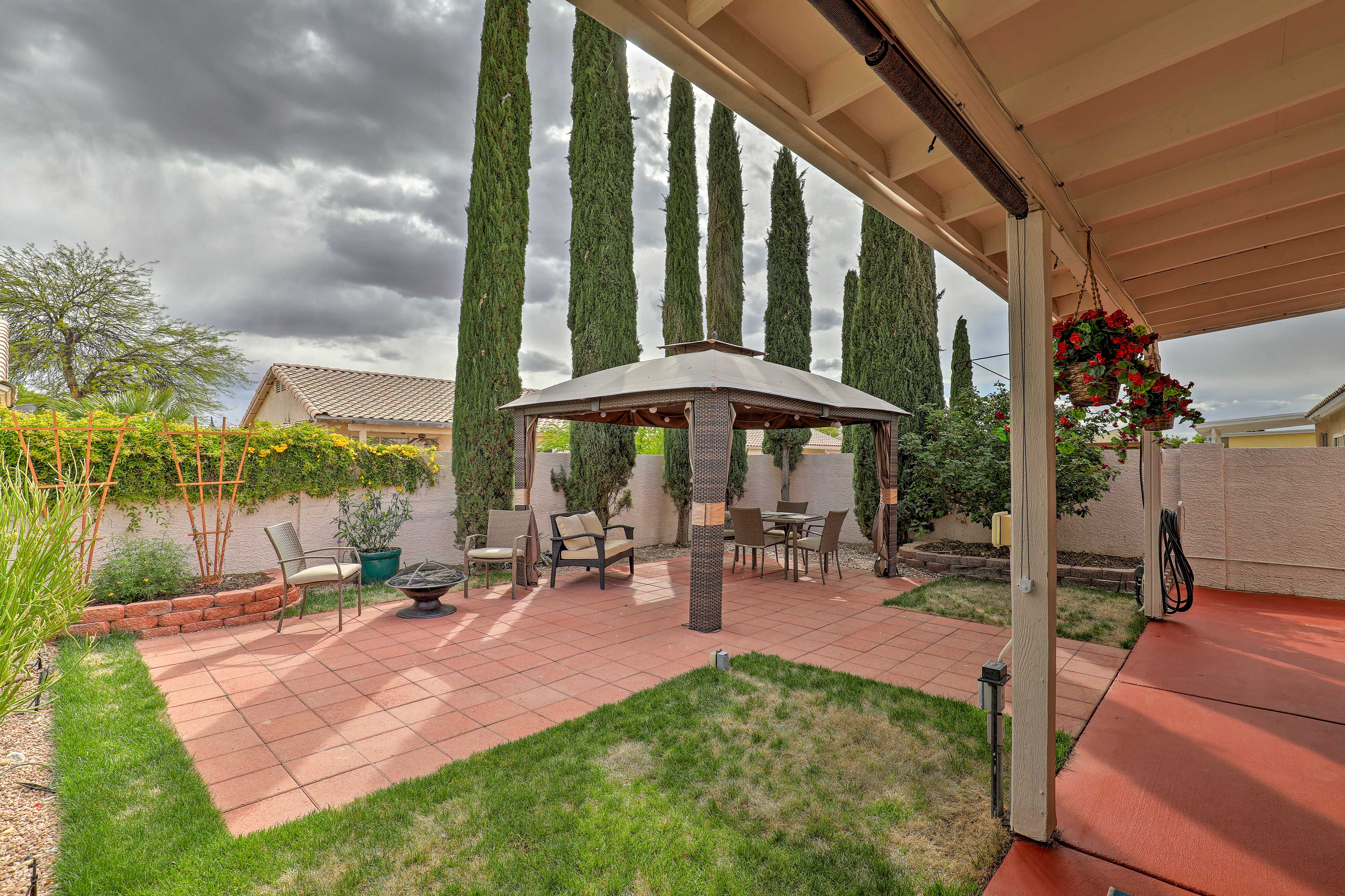 Gather under the gazebo or around the fire pit to socialize outside.