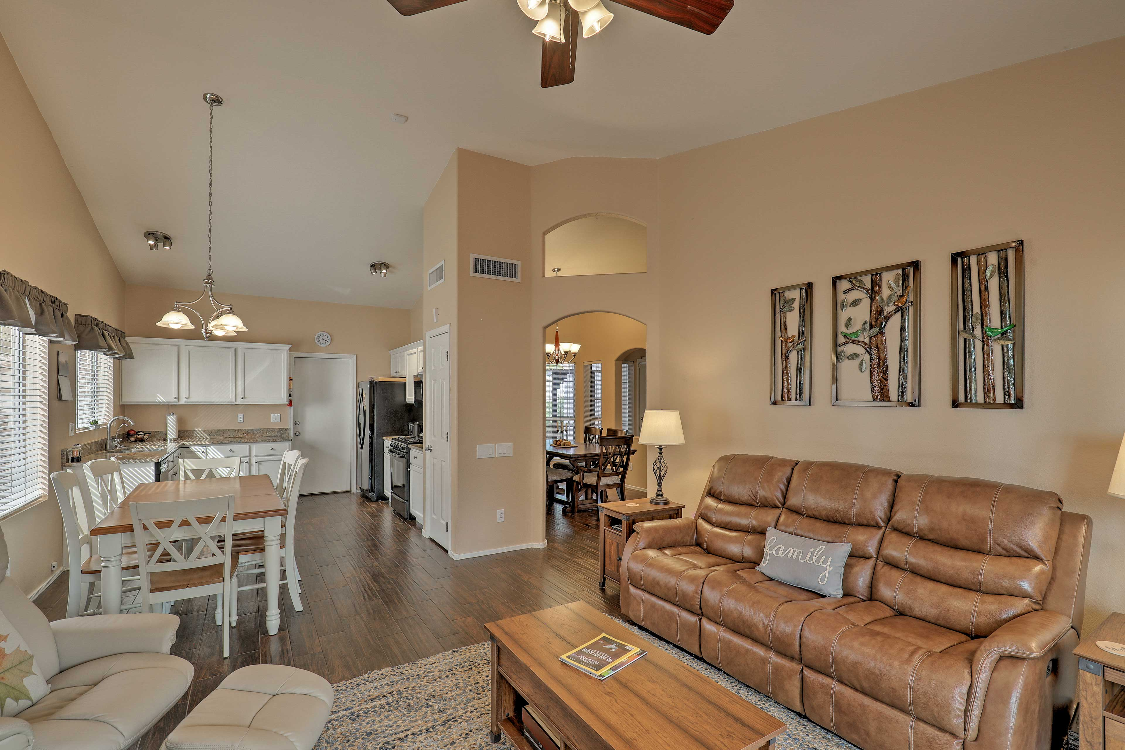 Make yourself at home in this inviting interior with comfortable furnishings.