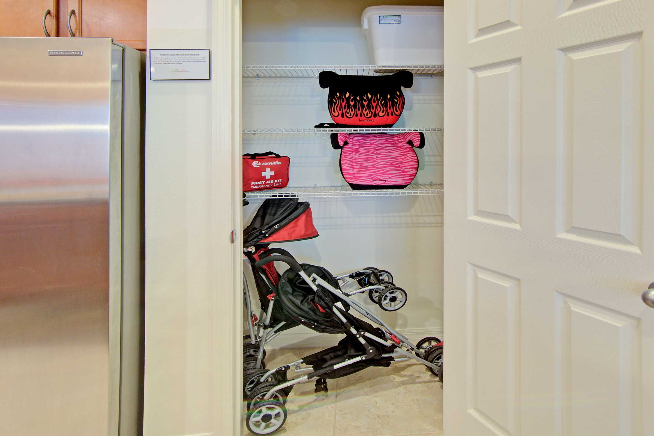 A stroller, first aid kit, and car seats are provided!