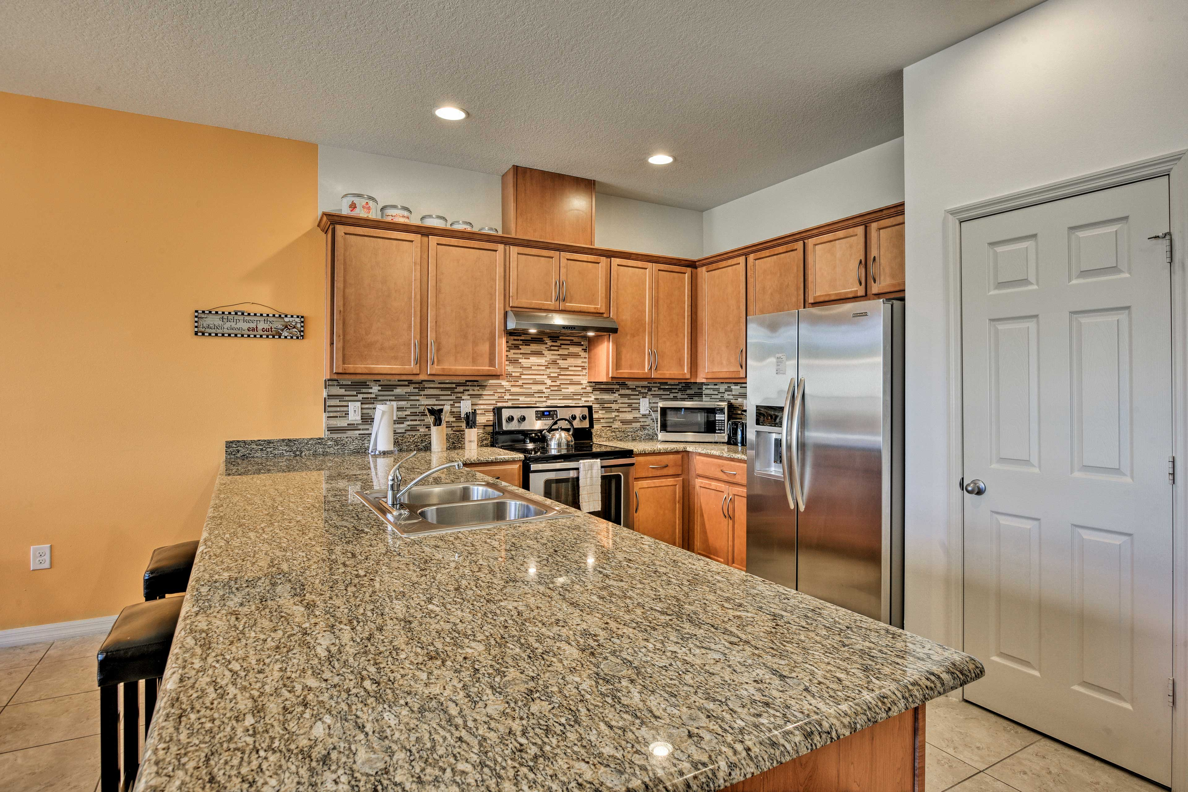 Long, sleek countertops make it easy to slice and dice.