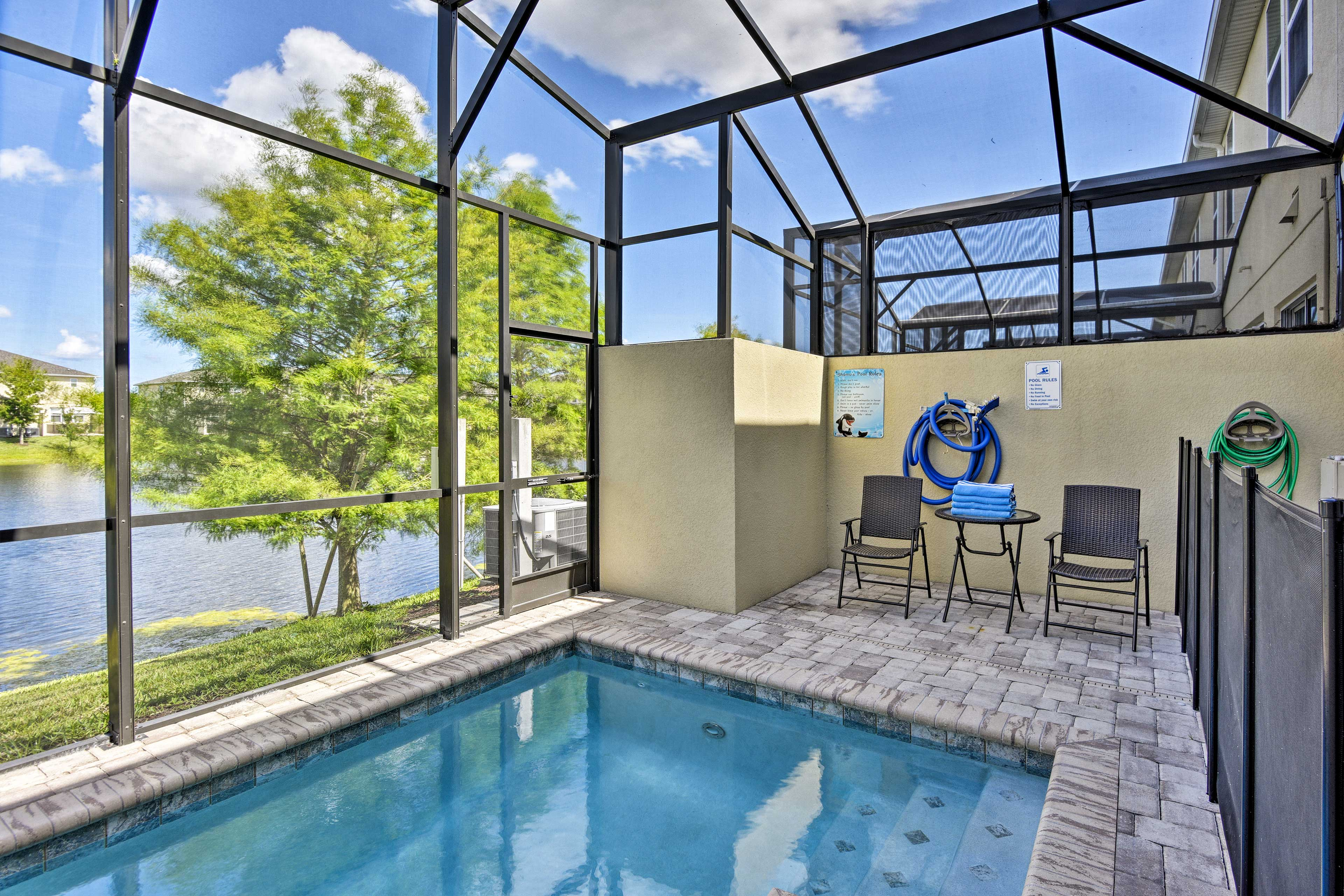 This home for 8 offers 4 bedrooms, 3.5 baths, and a private pool!
