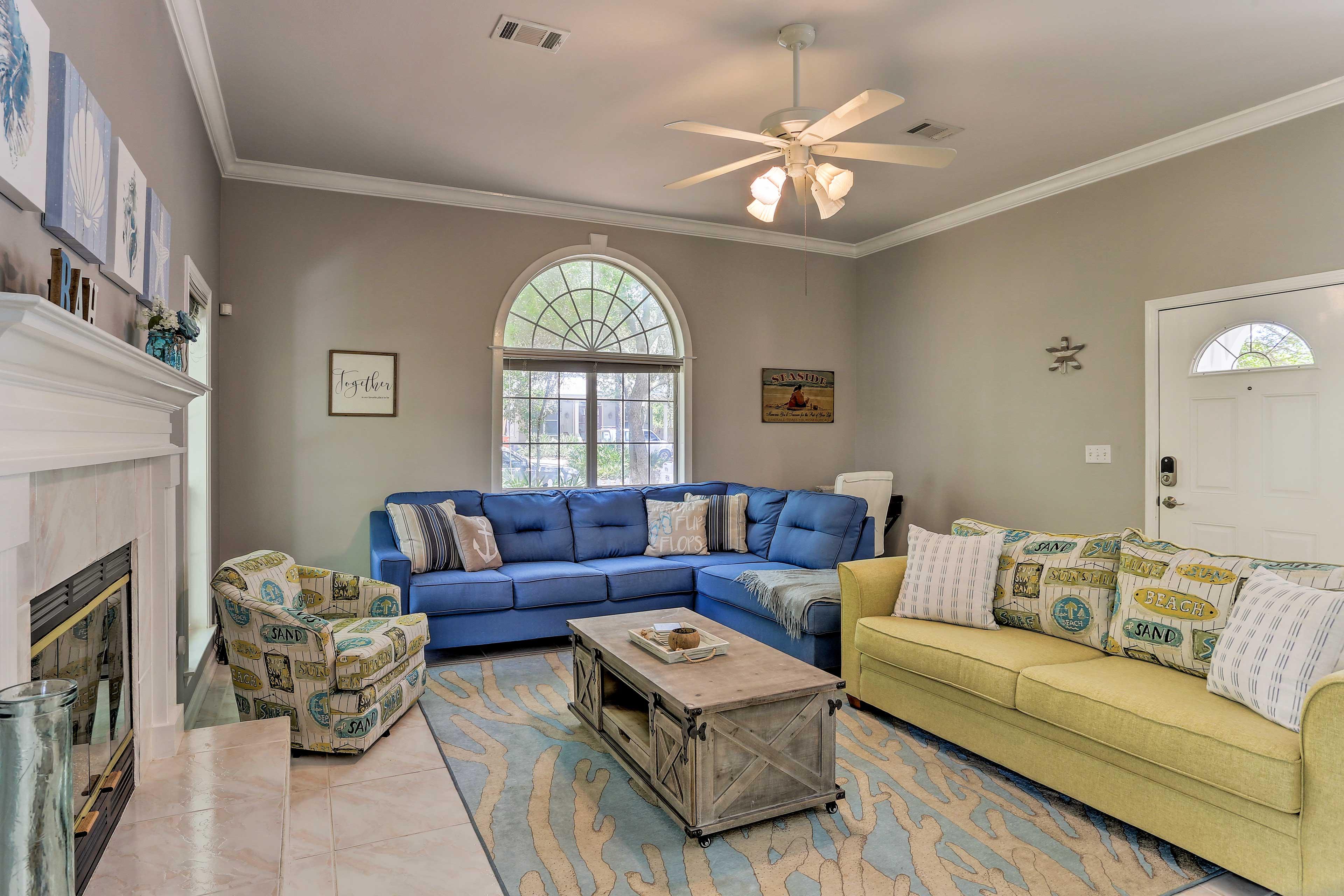 Chic beachy decor defines the home's 2,100-square-foot interior.
