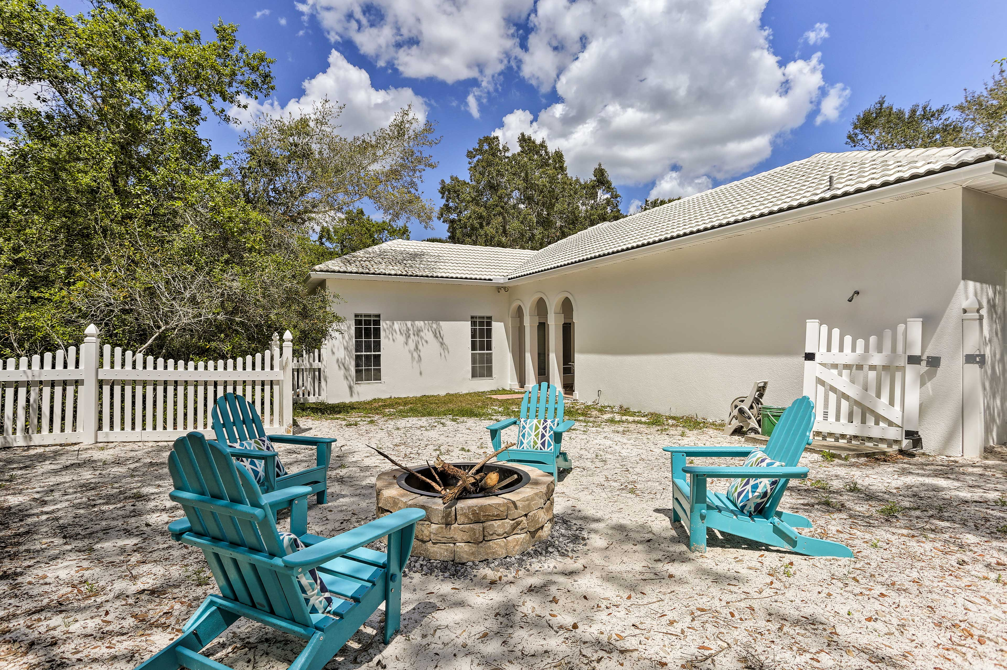The 2-bed, 2-bath house sits just a walk away from the ocean.
