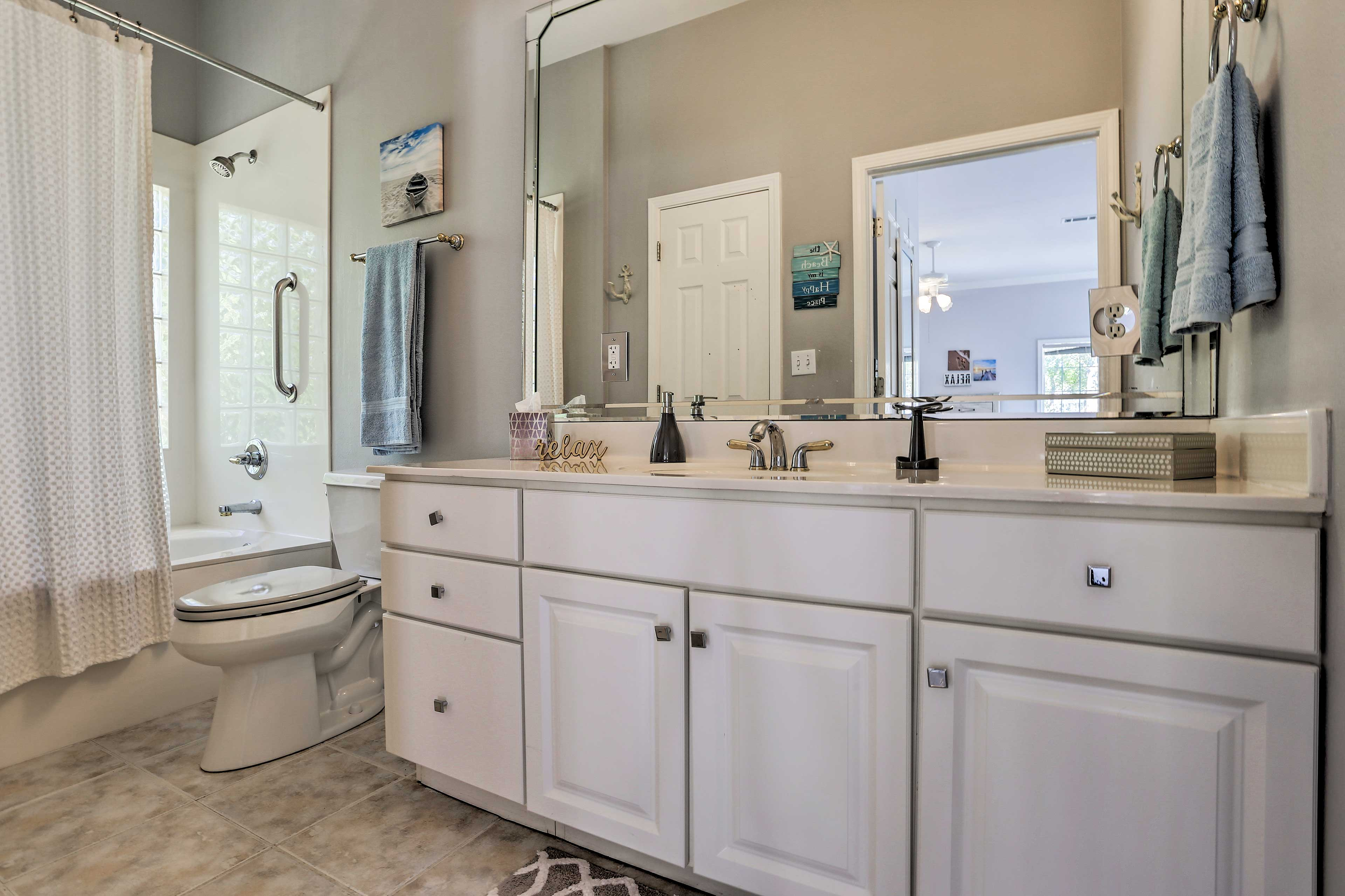 Get ready for bed side by side at this double vanity.