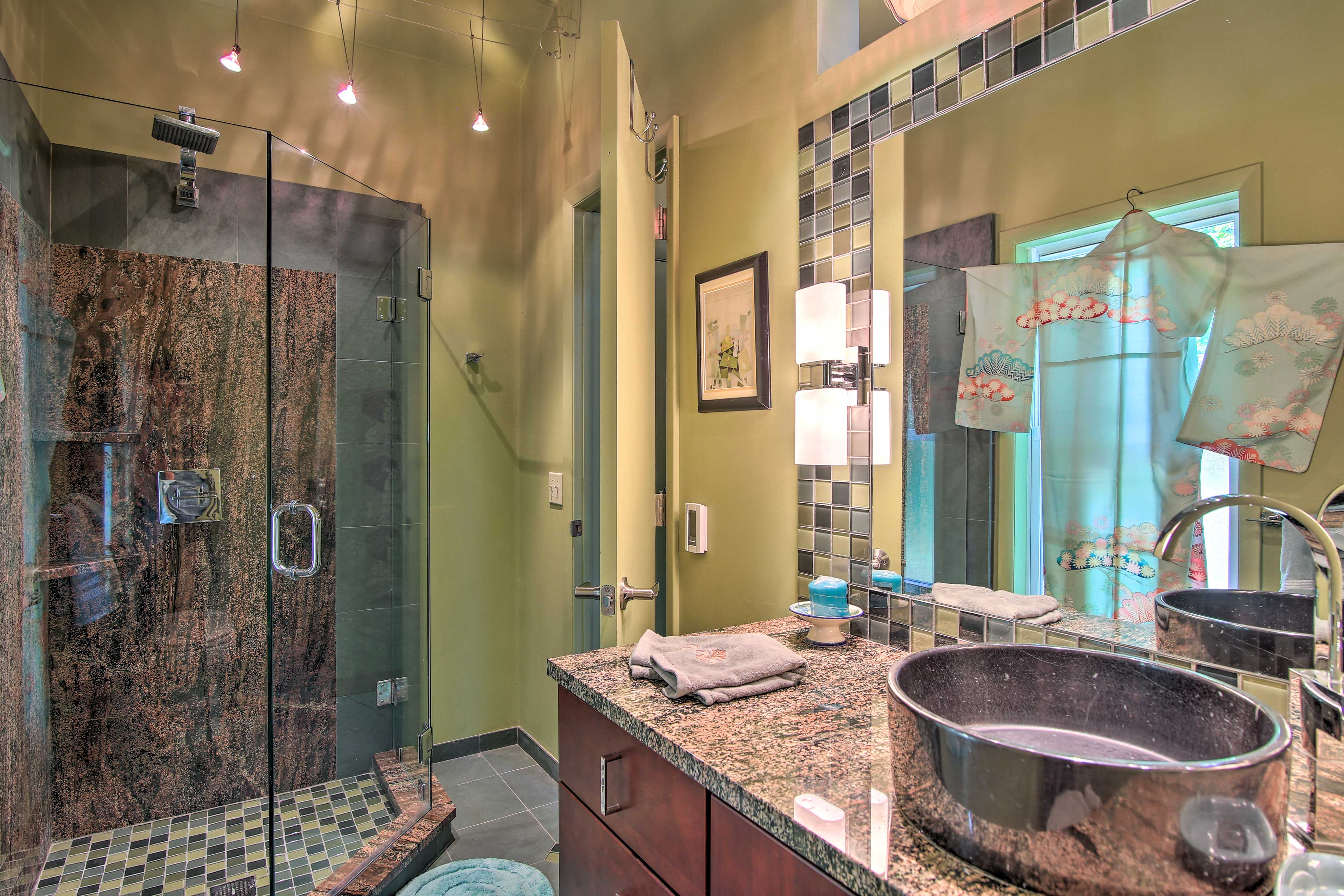 Use the walk-in shower to wash off.