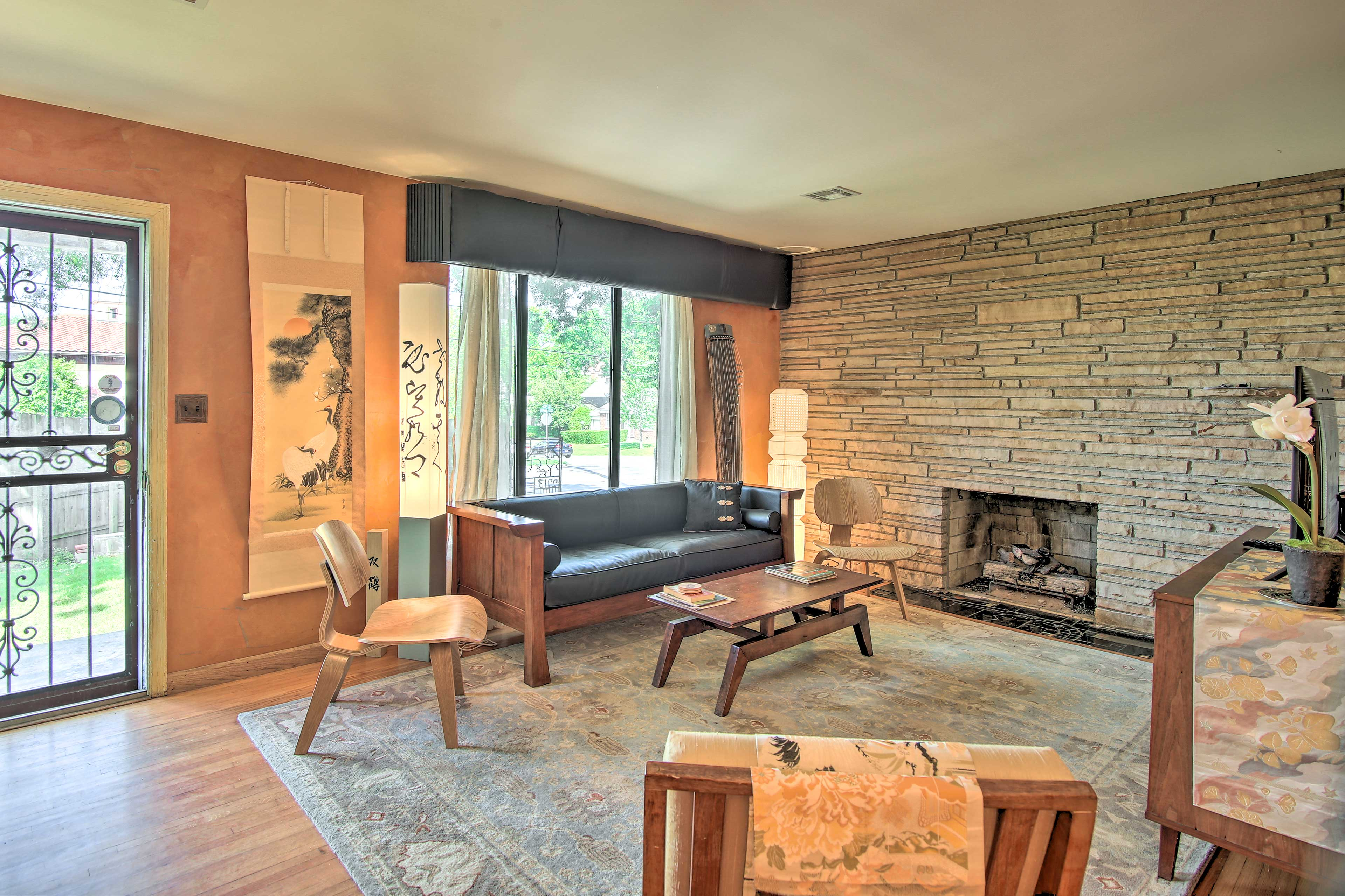'Kimono House' is decorated with a blend of Japanese & mid-century modern decor.