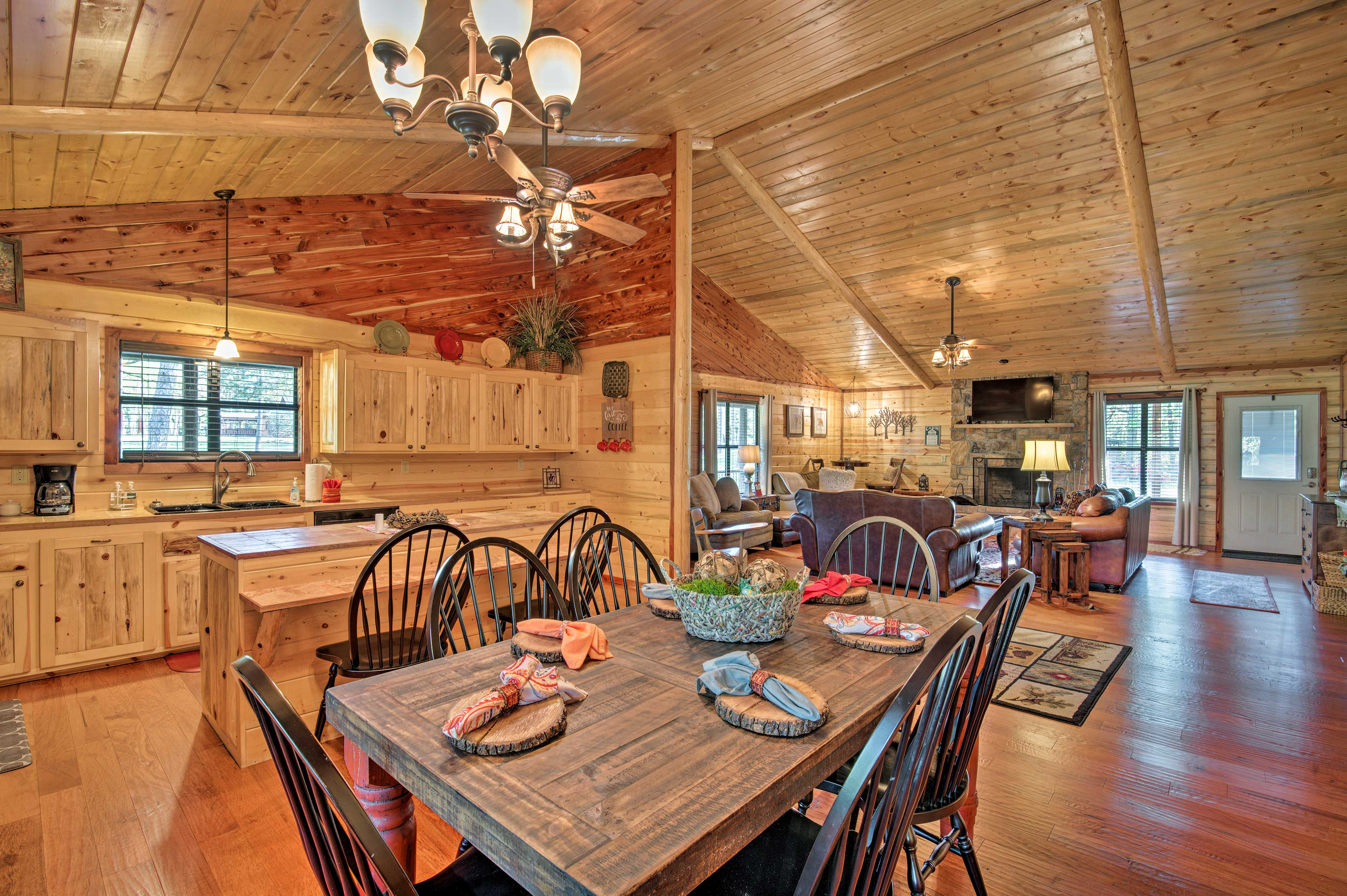 Good food and good company go hand-in-hand at this rustic table.