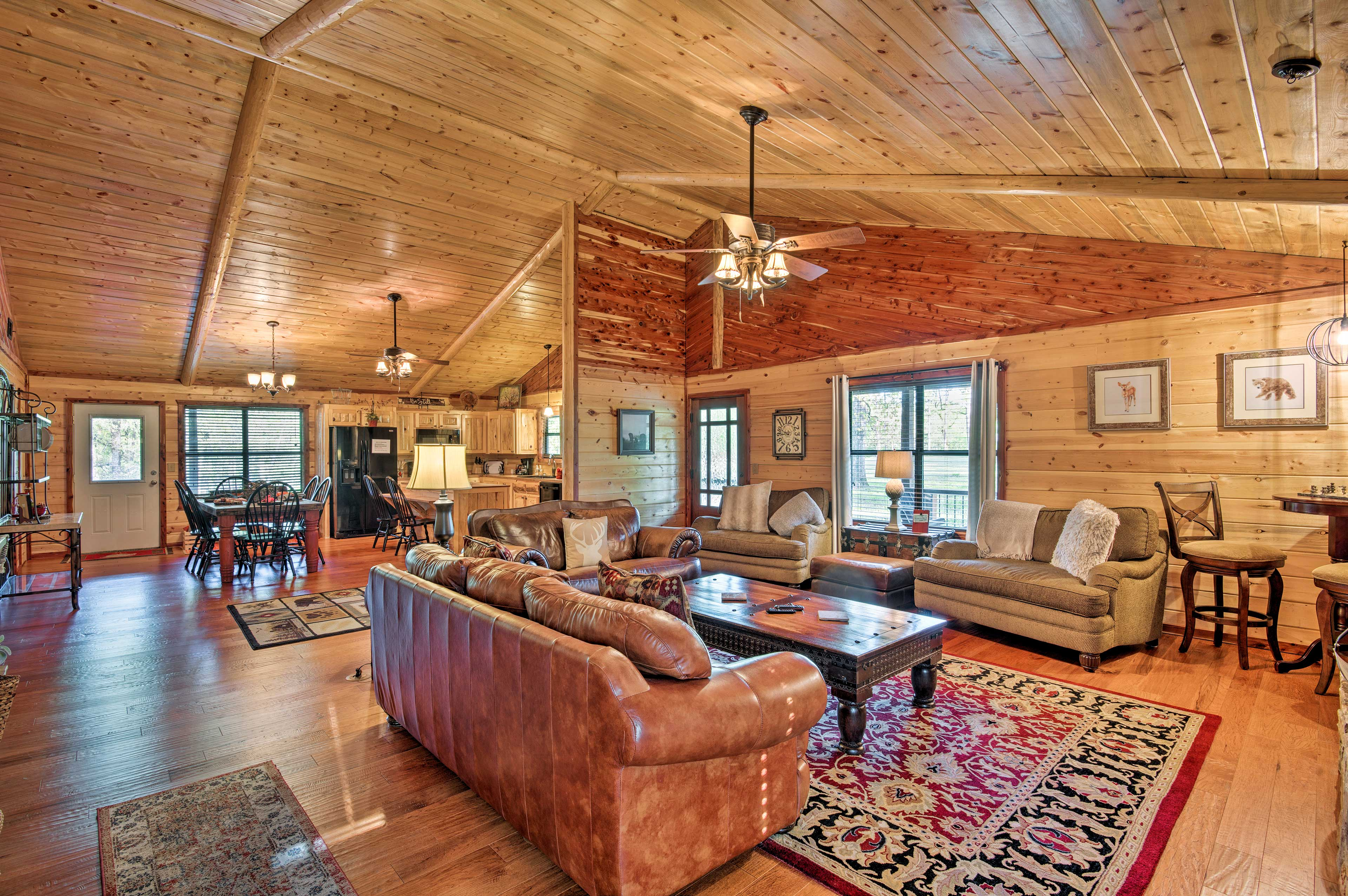 Cuddle up on the leather sofas in front of the fireplace & flat-screen TV.