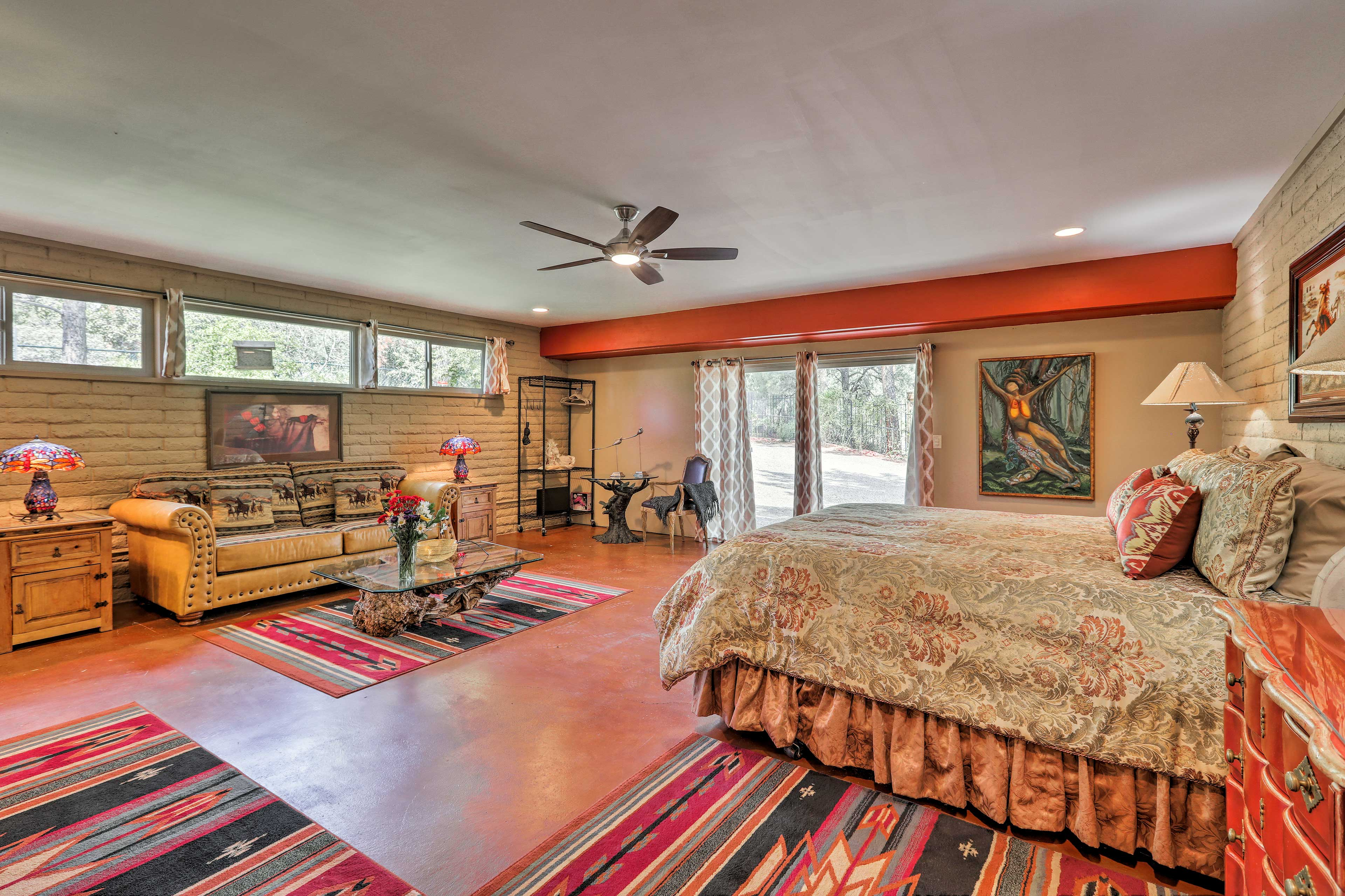 The colorful open space channels a Southwestern vibe.