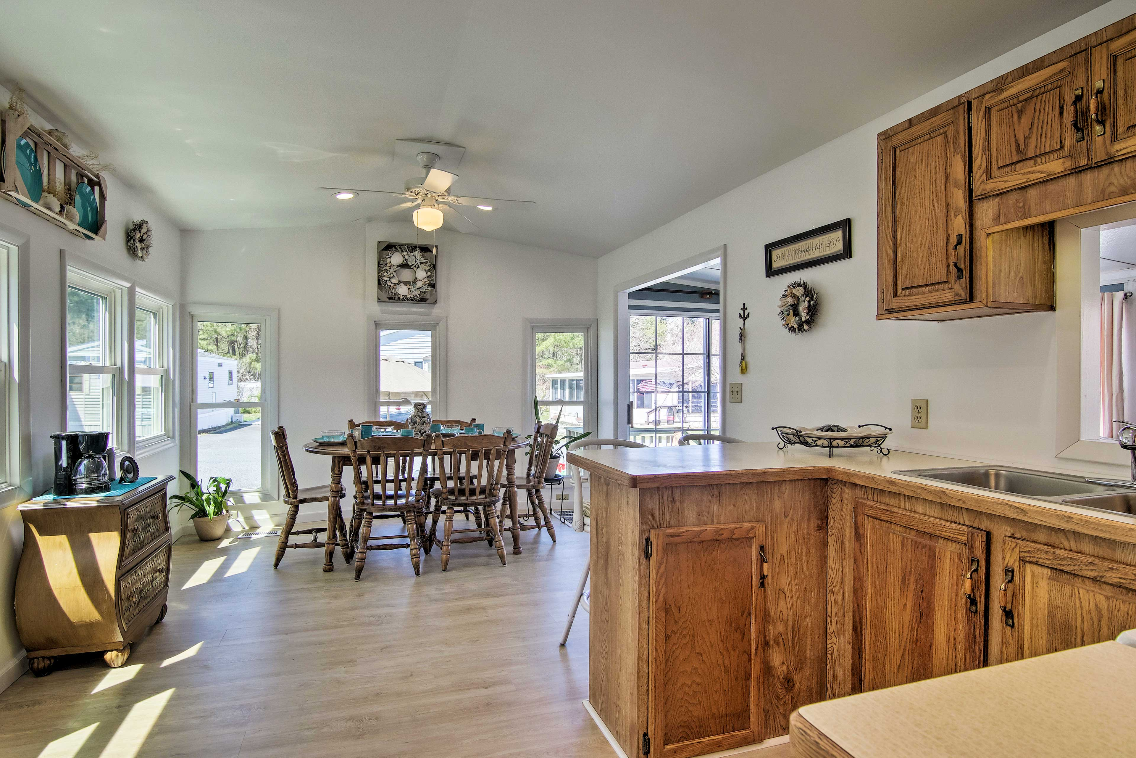 The kitchen is well equipped with a coffee station & ample cookware.