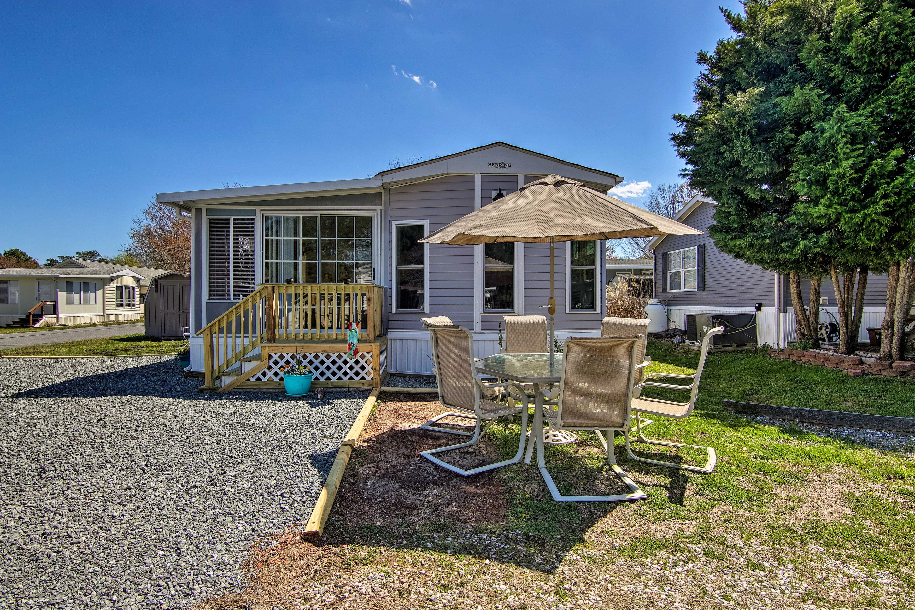 The 2-bedroom, 1-bath home belongs to the White Horse Park community.