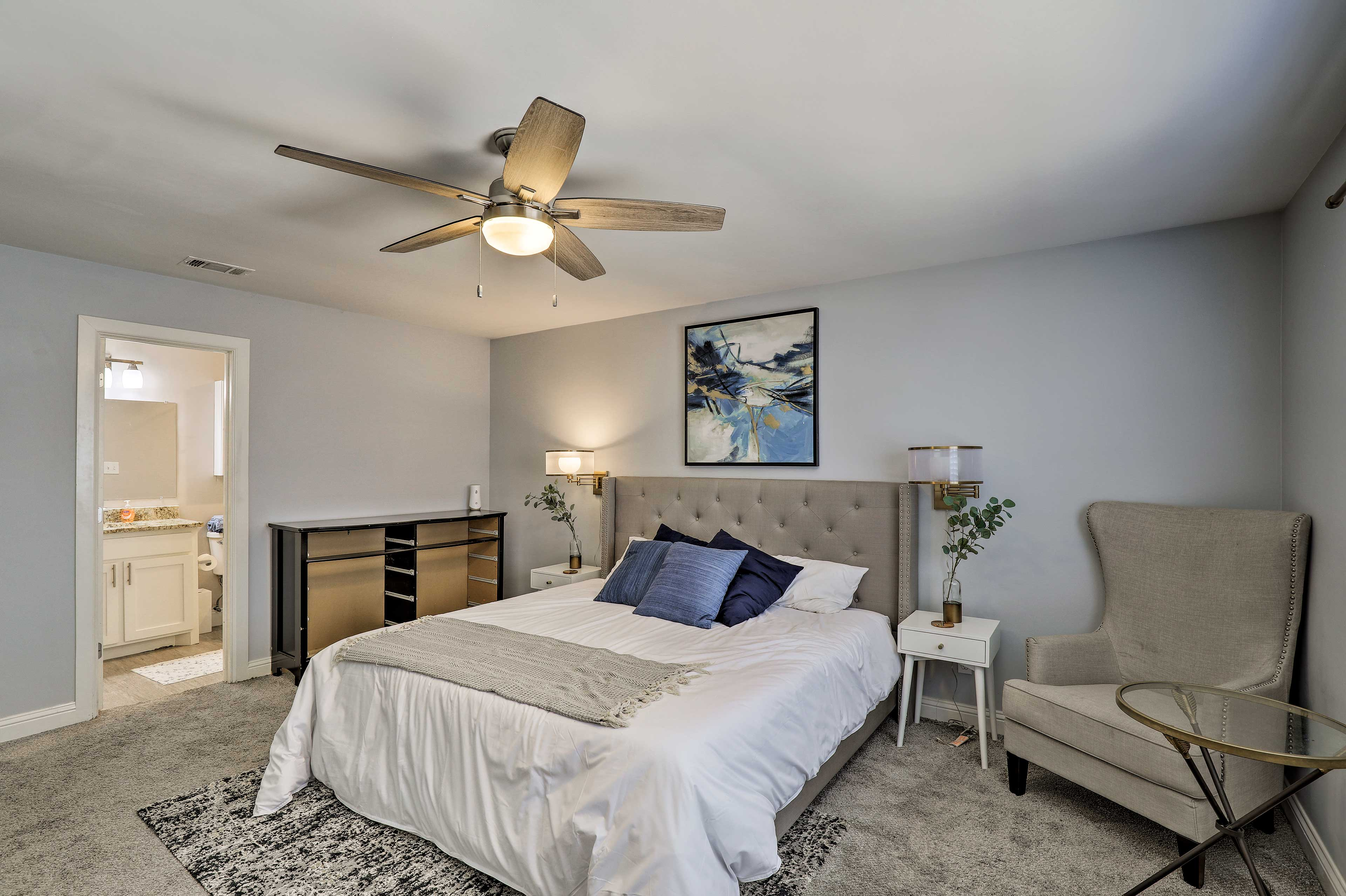 Retire to the master bedroom when your eyes get heavy.