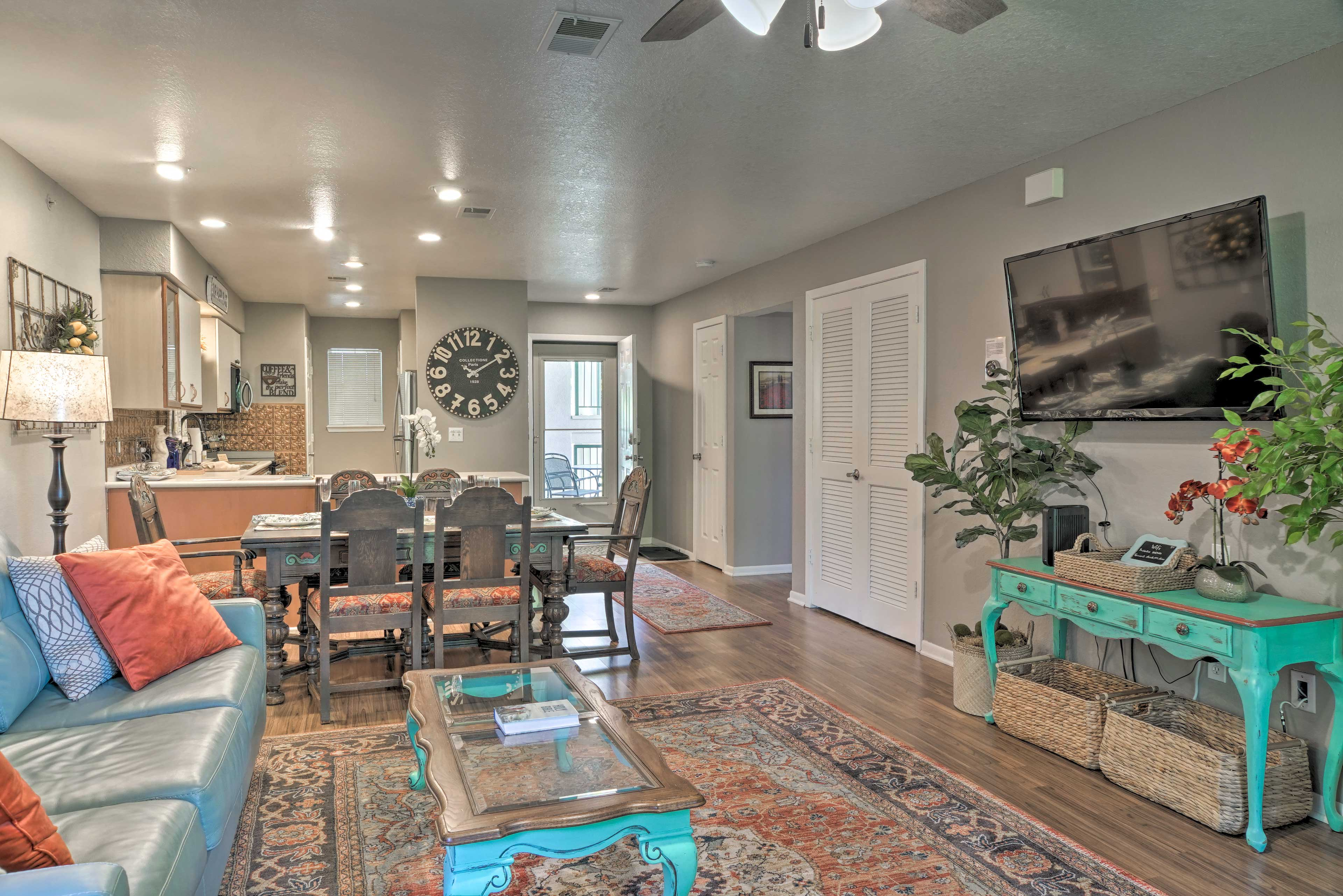 The unit offers new furnishings and an open floor plan.
