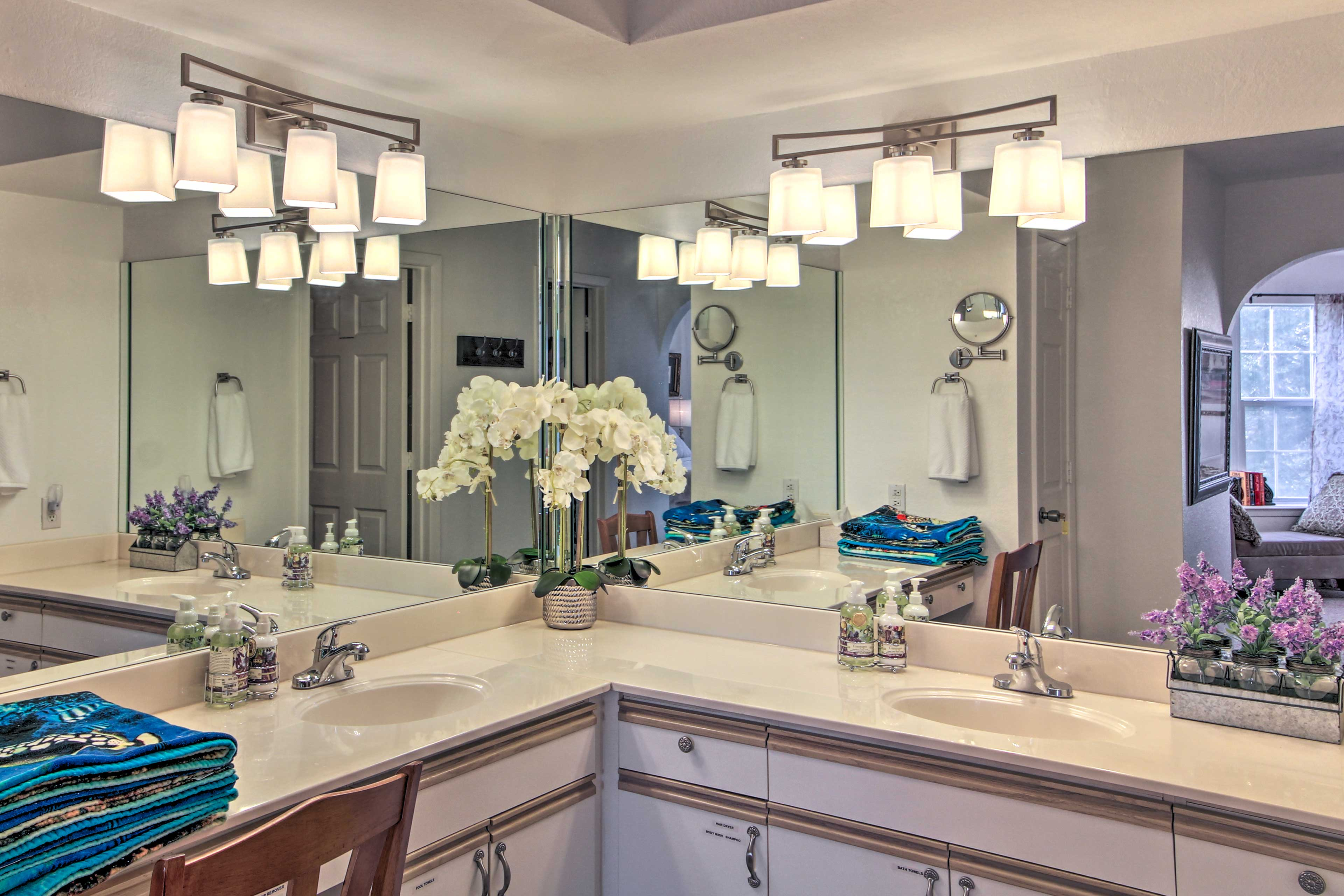 Freshen up at the expansive vanity.