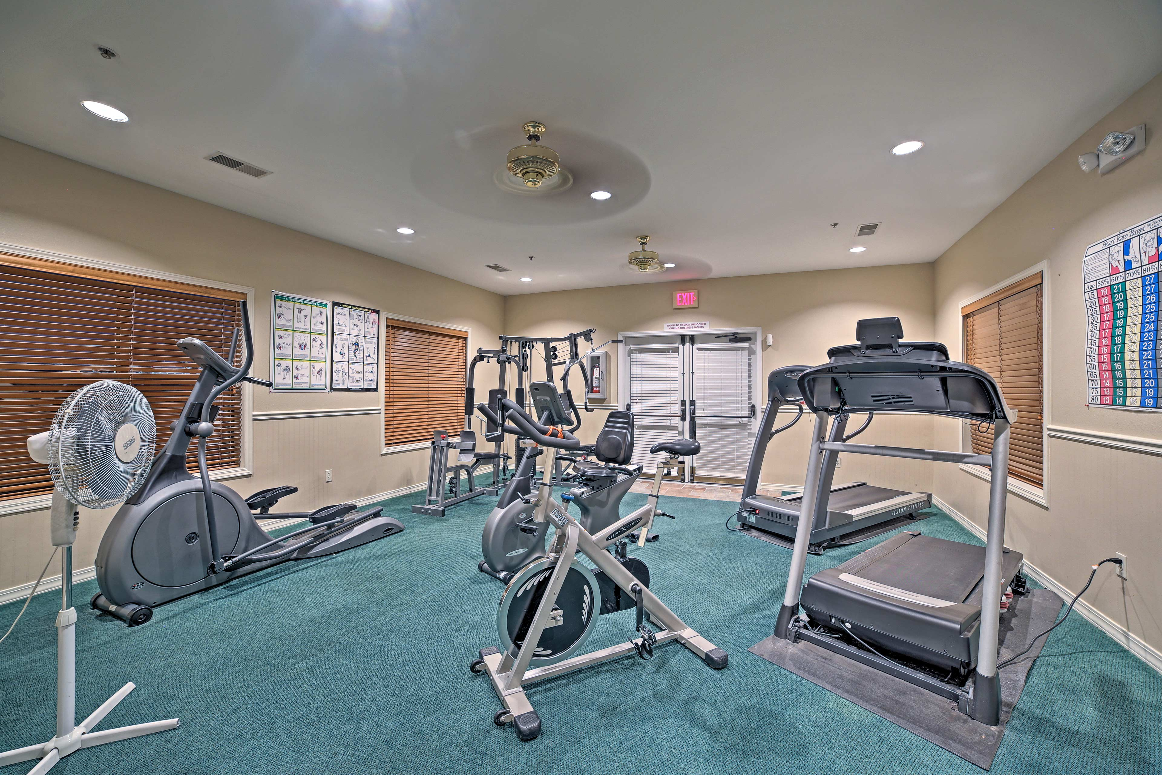 You won't miss a workout during your stay.