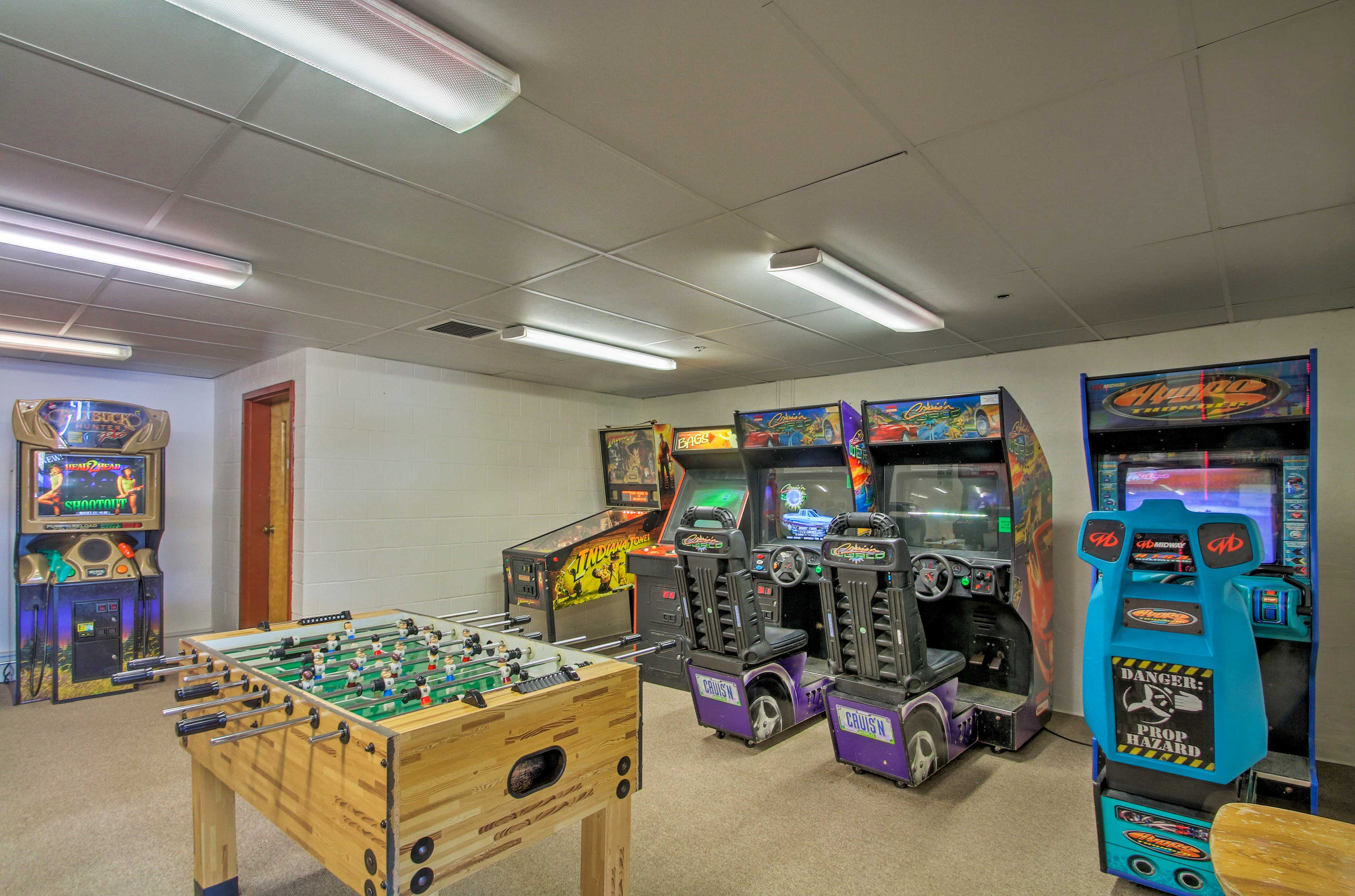 There are dozens of arcade games in the game room!
