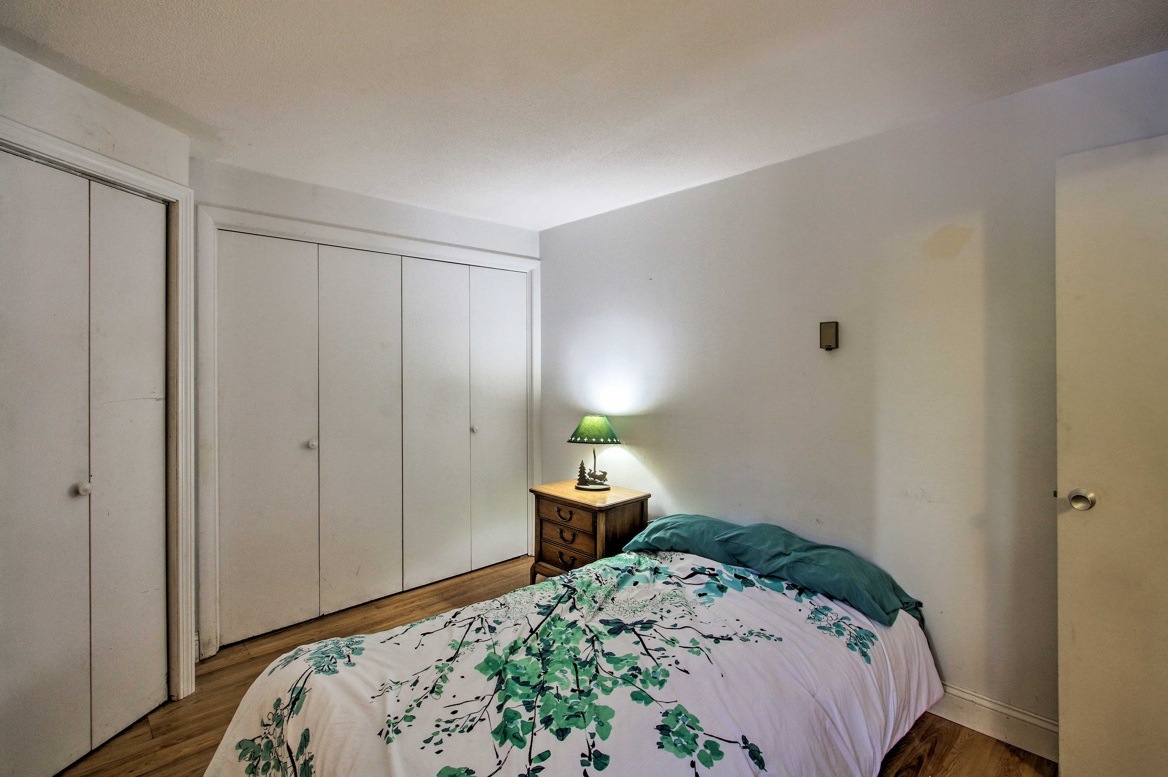 The second bedroom is outfitted with a full bed.