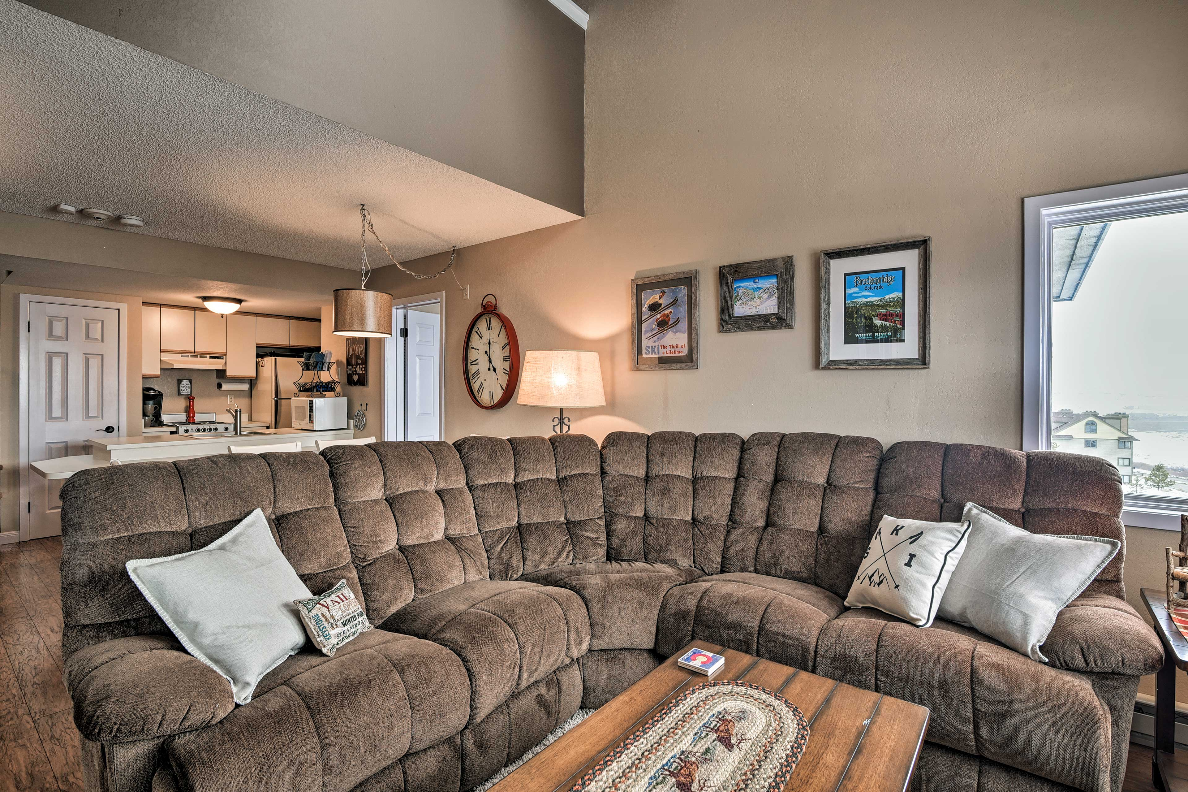 Give your sore skiing muscles a break with a nap on the sectional sofa!