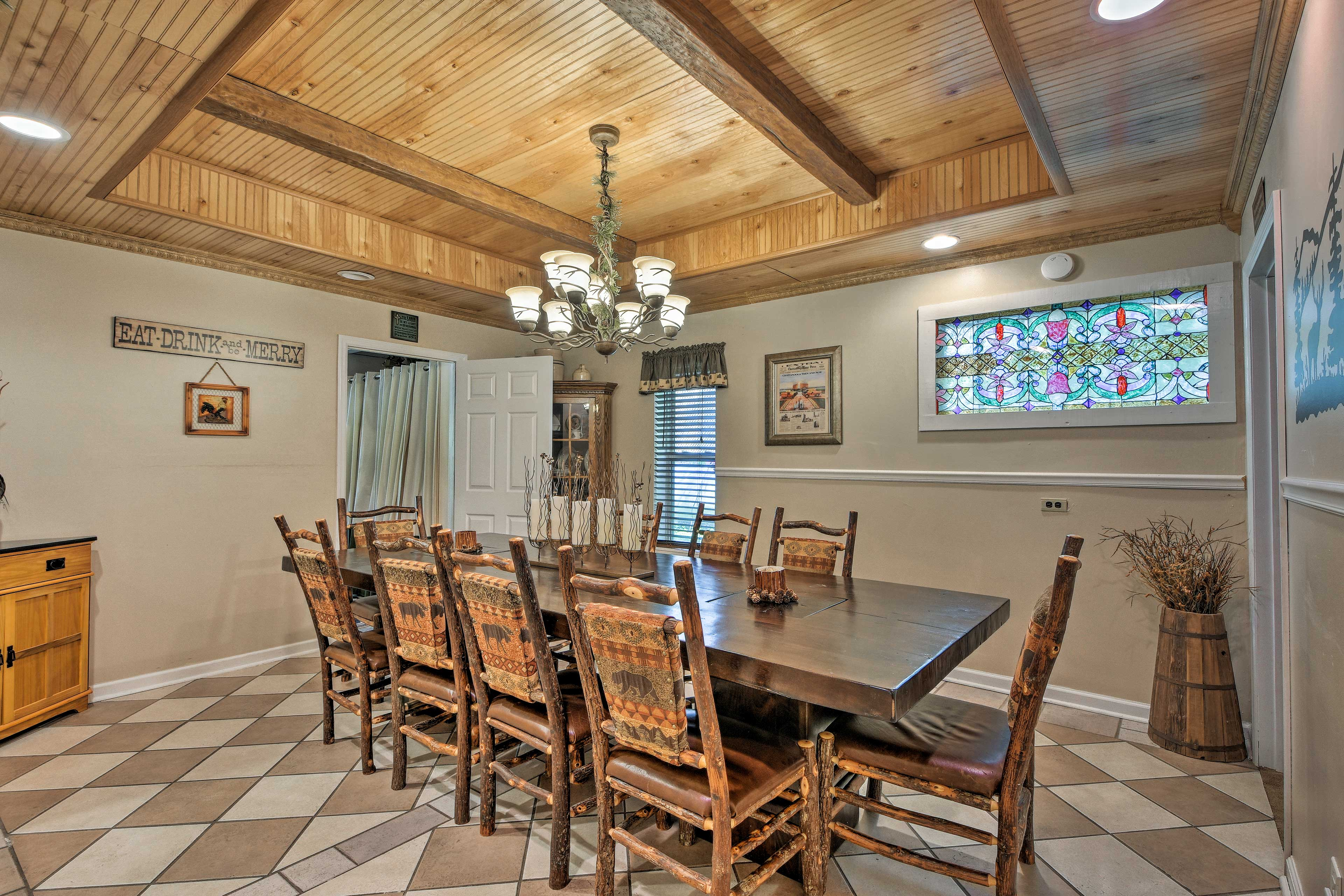 This large 10-person dining table easily hosts feasts!